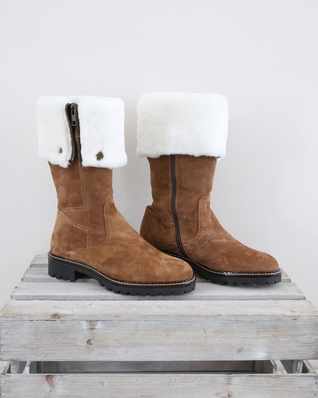 Sheepskin Lined Fold Down Boot - Size 37 - Autumn Brown - 1466