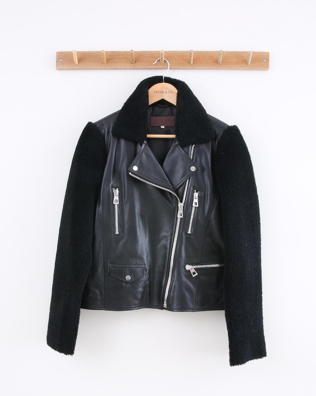 Leather Biker Jacket w/Sheepskin Trim - Size 14 - Black - 1470