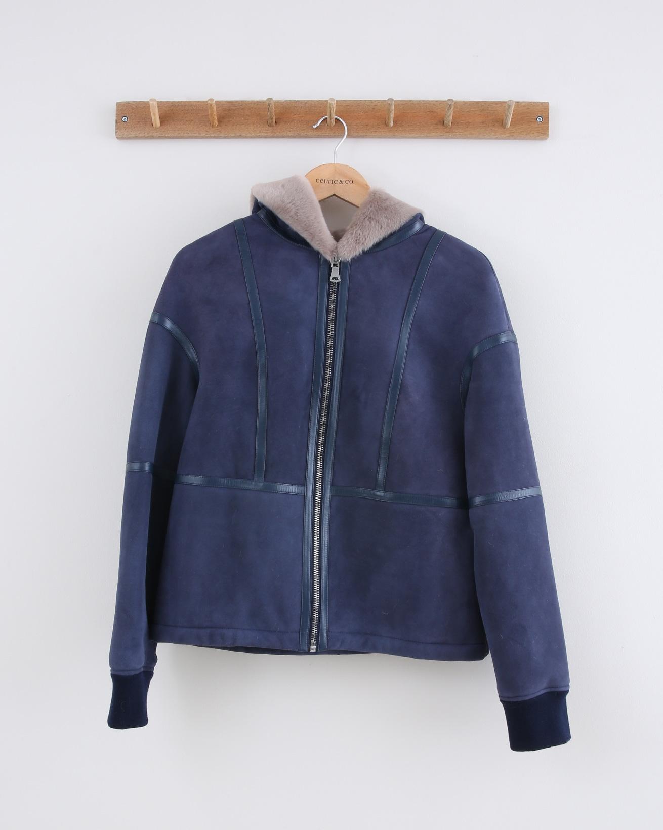Hooded Sheepskin Jacket - Size 10 - Navy & Mink - 1471
