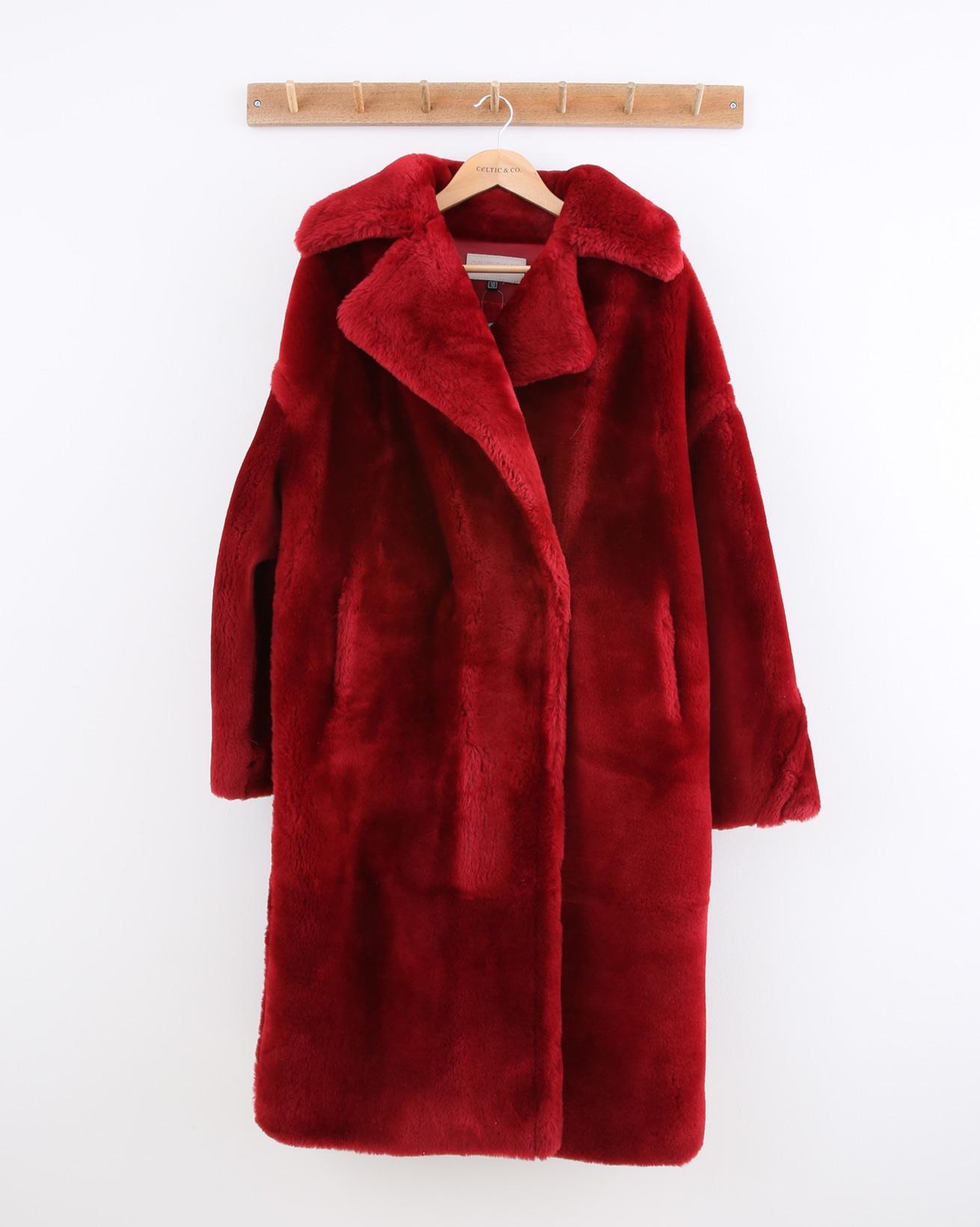 Oversized Long Sheepskin Overcoat - Size 10 - Pillarbox Red - 1472