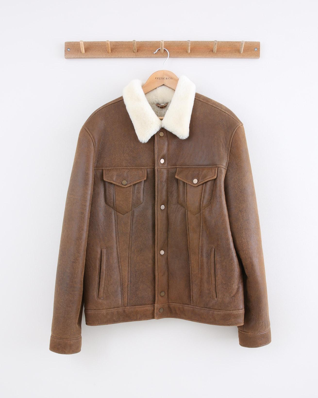 Mens Sheepskin Trucker Jacket - Size Medium - Whiskey & Cream - 1473