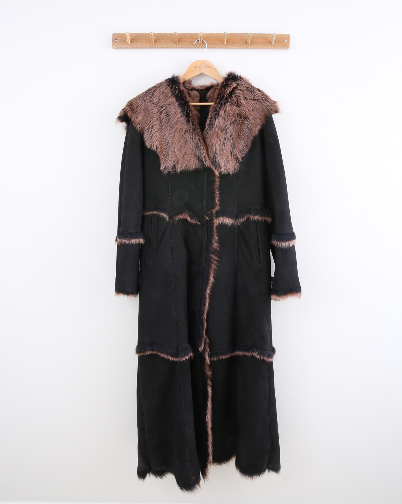 Hooded Toscana Coat - Size 10 - Black with Rust Tipping - 1474