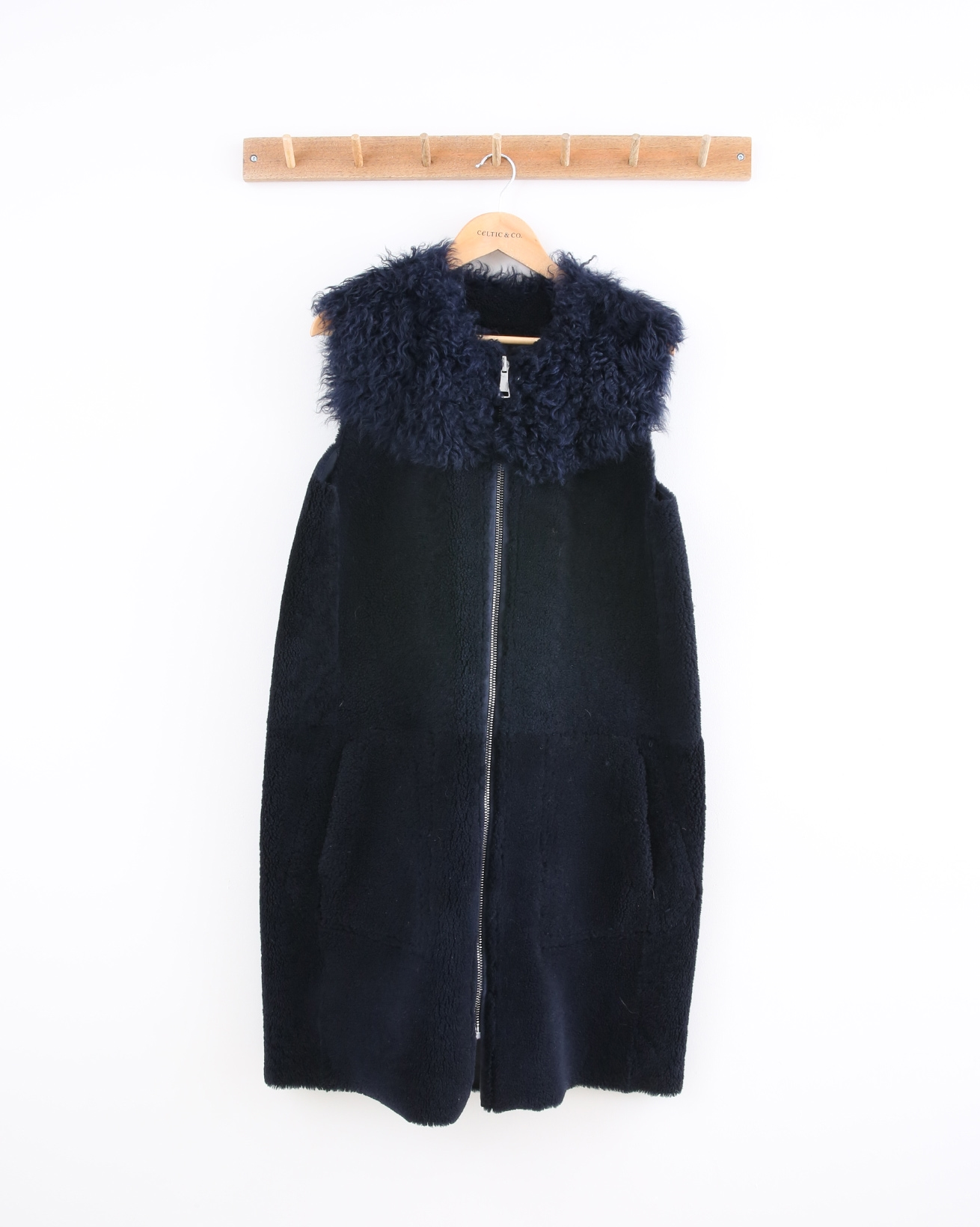 Reversible Teddy Cocoon Gilet - Size 10 - Navy - 1475