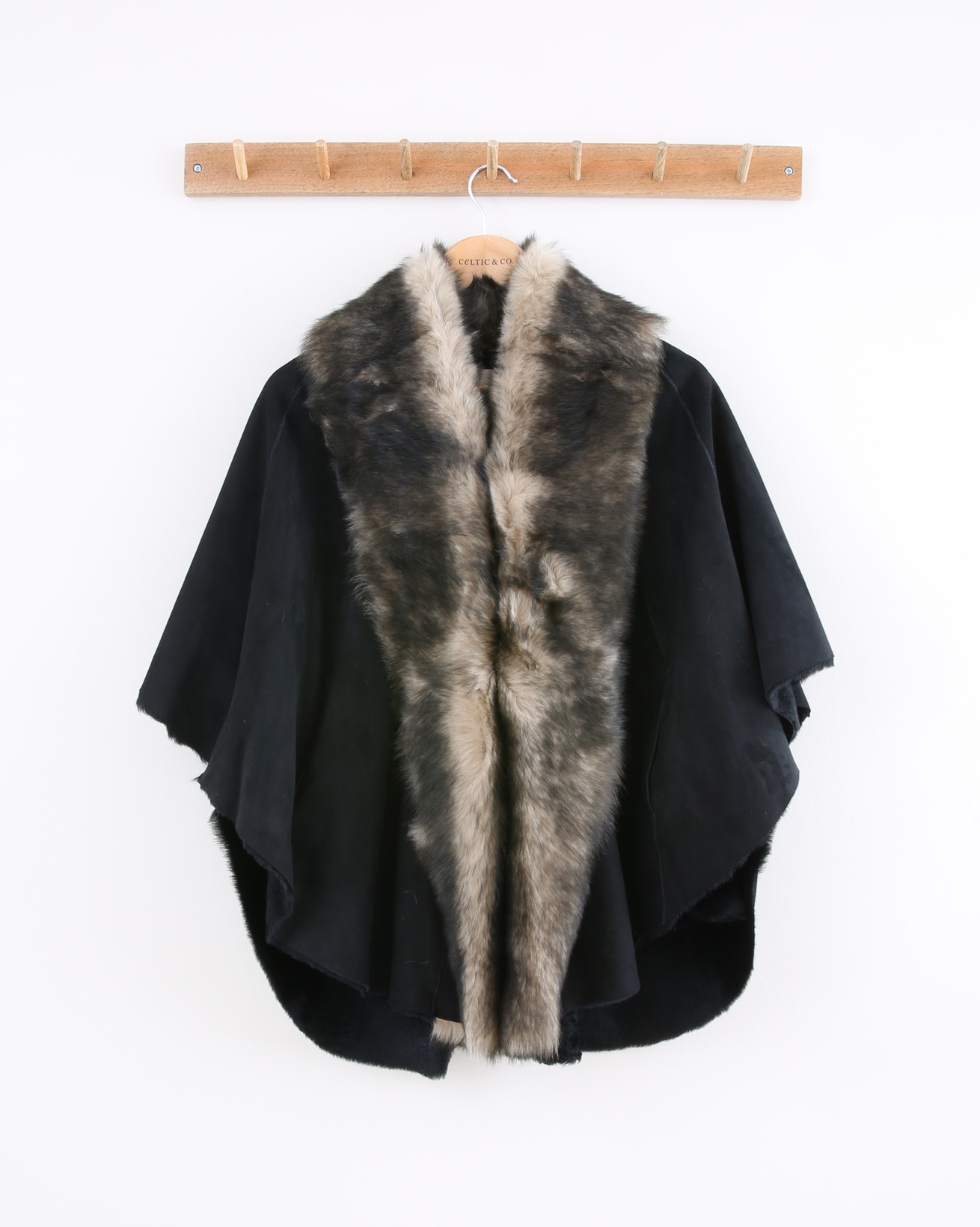 Toscana Cape - Size Small - Black with Black tipped Beige Fur - 1483