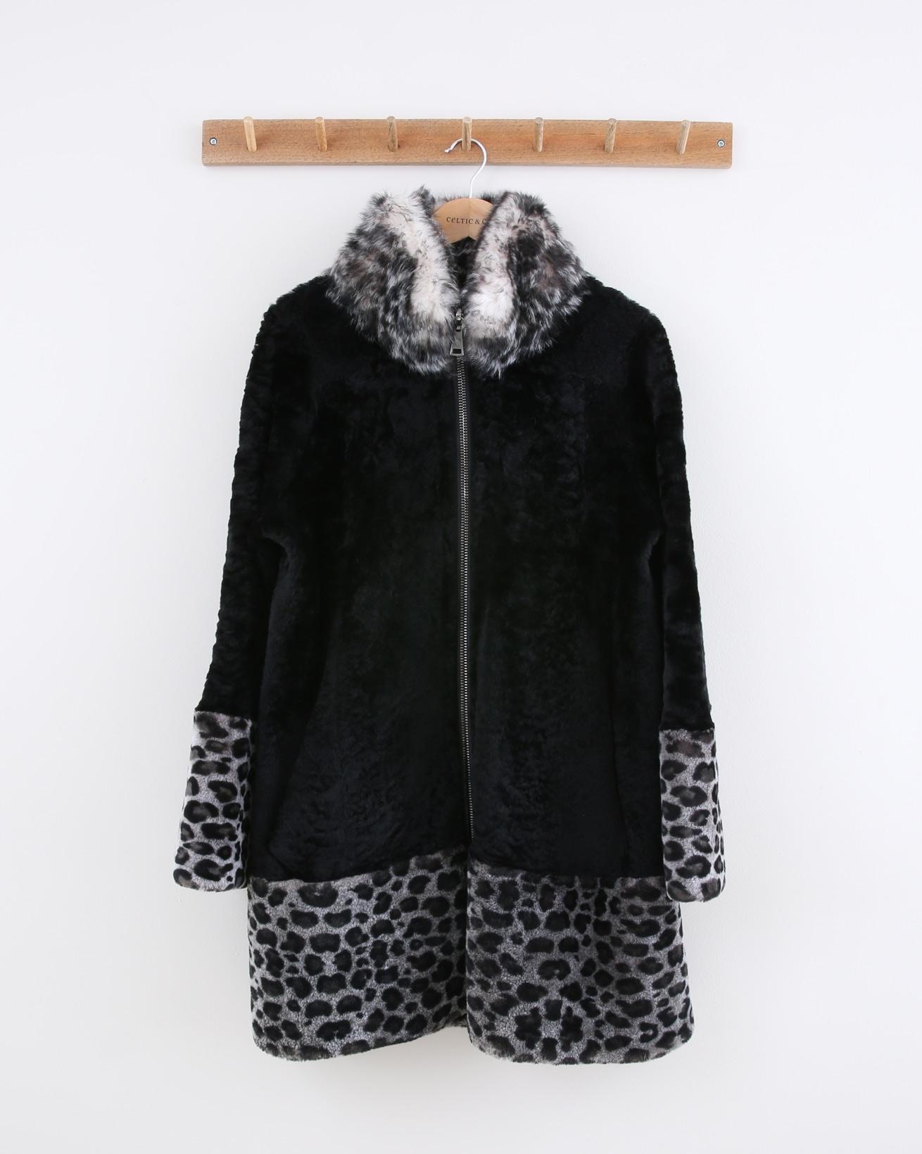 Statement Swing Coat -Size 10 - Black Snow Leopard - 1484