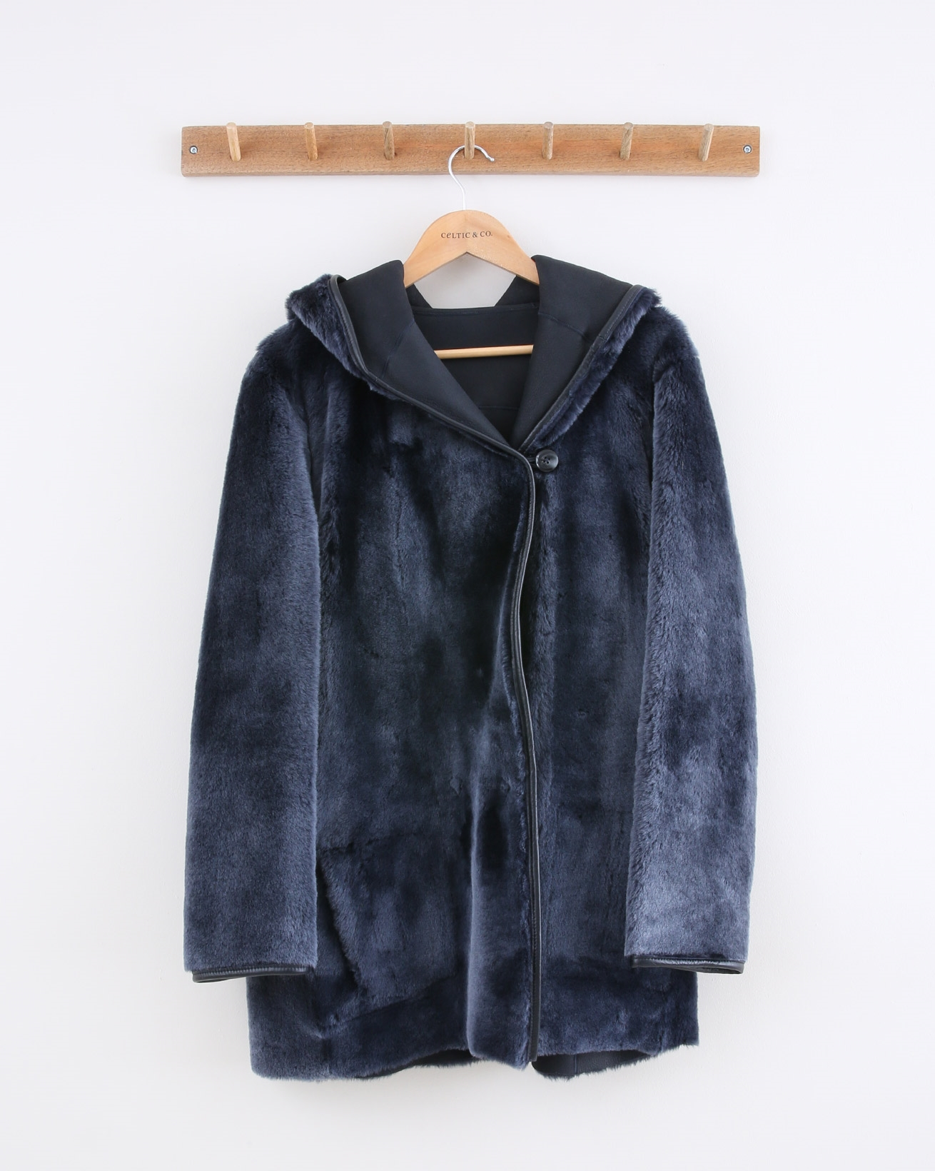 Reversible Hooded Wrap Jacket - Size 10 - Navy - 1485