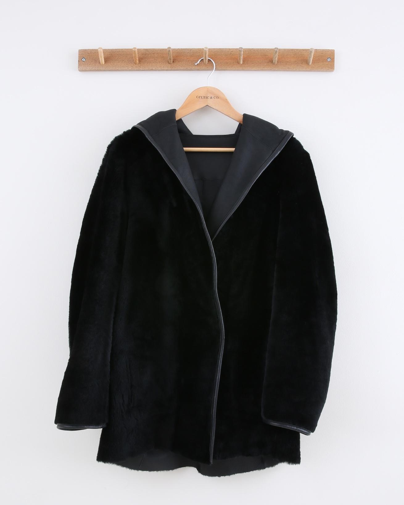 Reversible Hooded Wrap Jacket - Size 10 - Black - 1486