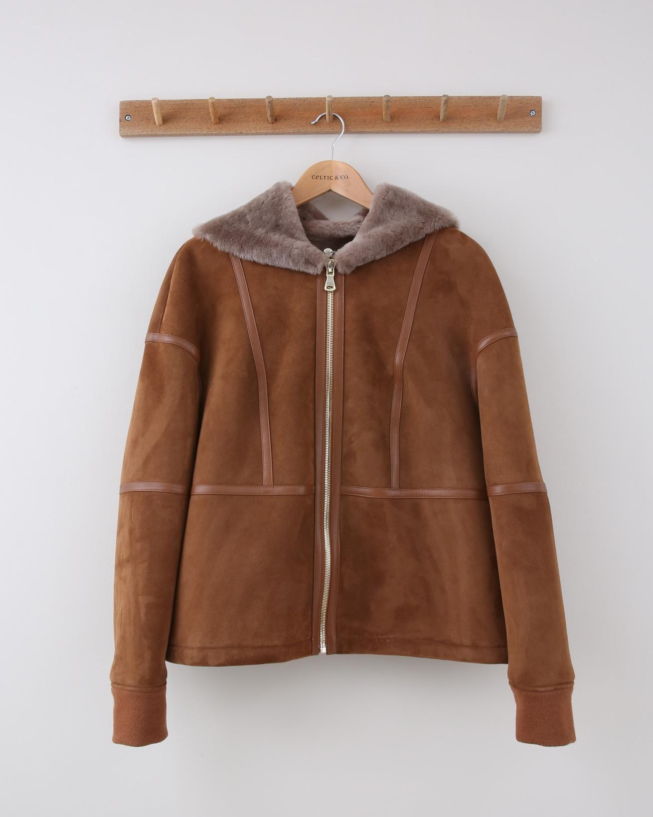 Hooded Sheepskin Jacket - Size Medium - Tan & Mink - 1489