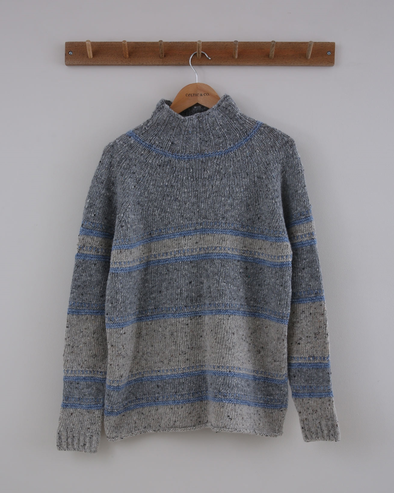 Flecked Funnel Neck - Size Small - Grey & Blue Stripe - 1505