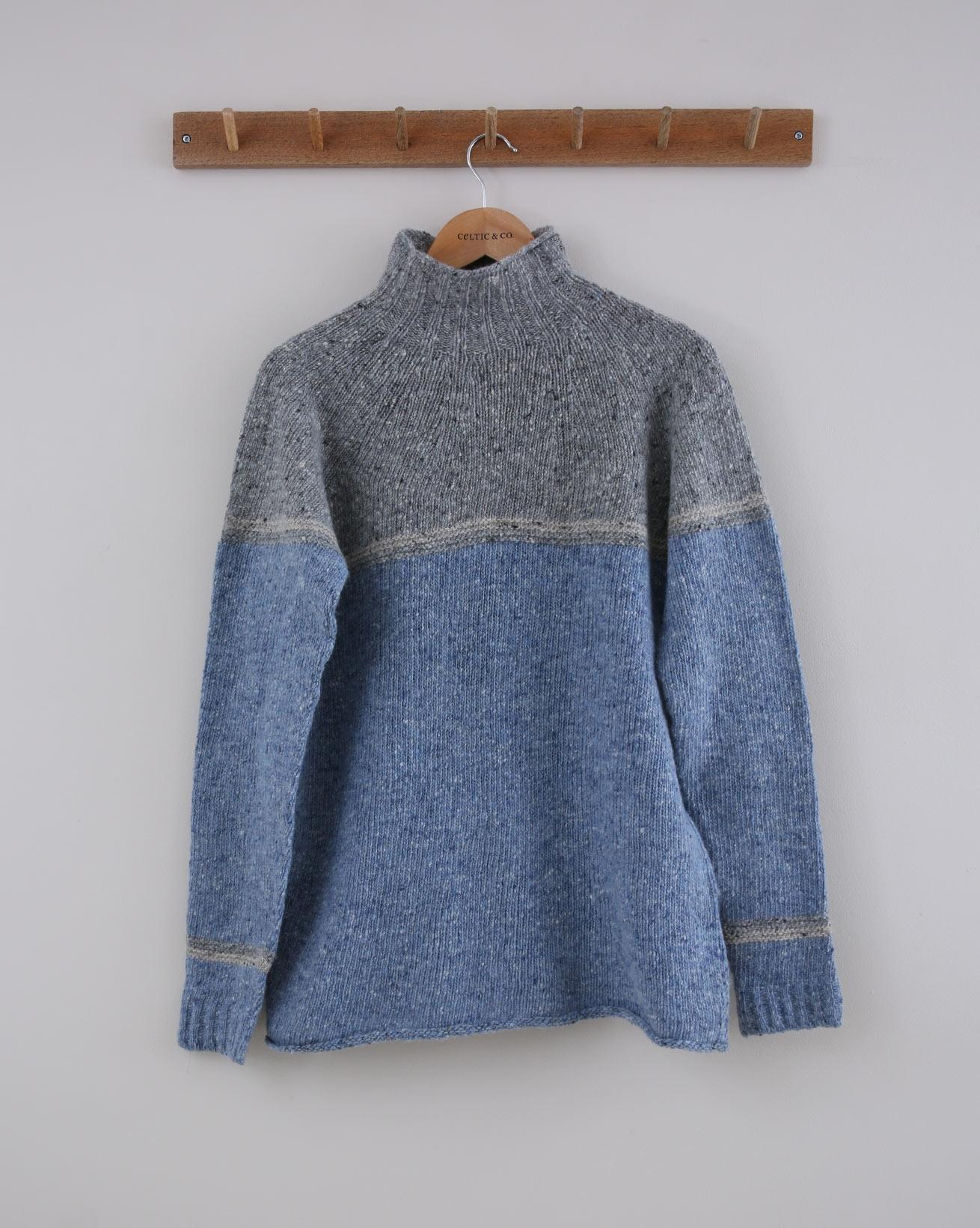 Flecked Funnel Neck - Size Small - Grey & Blue Colourblock - 1506