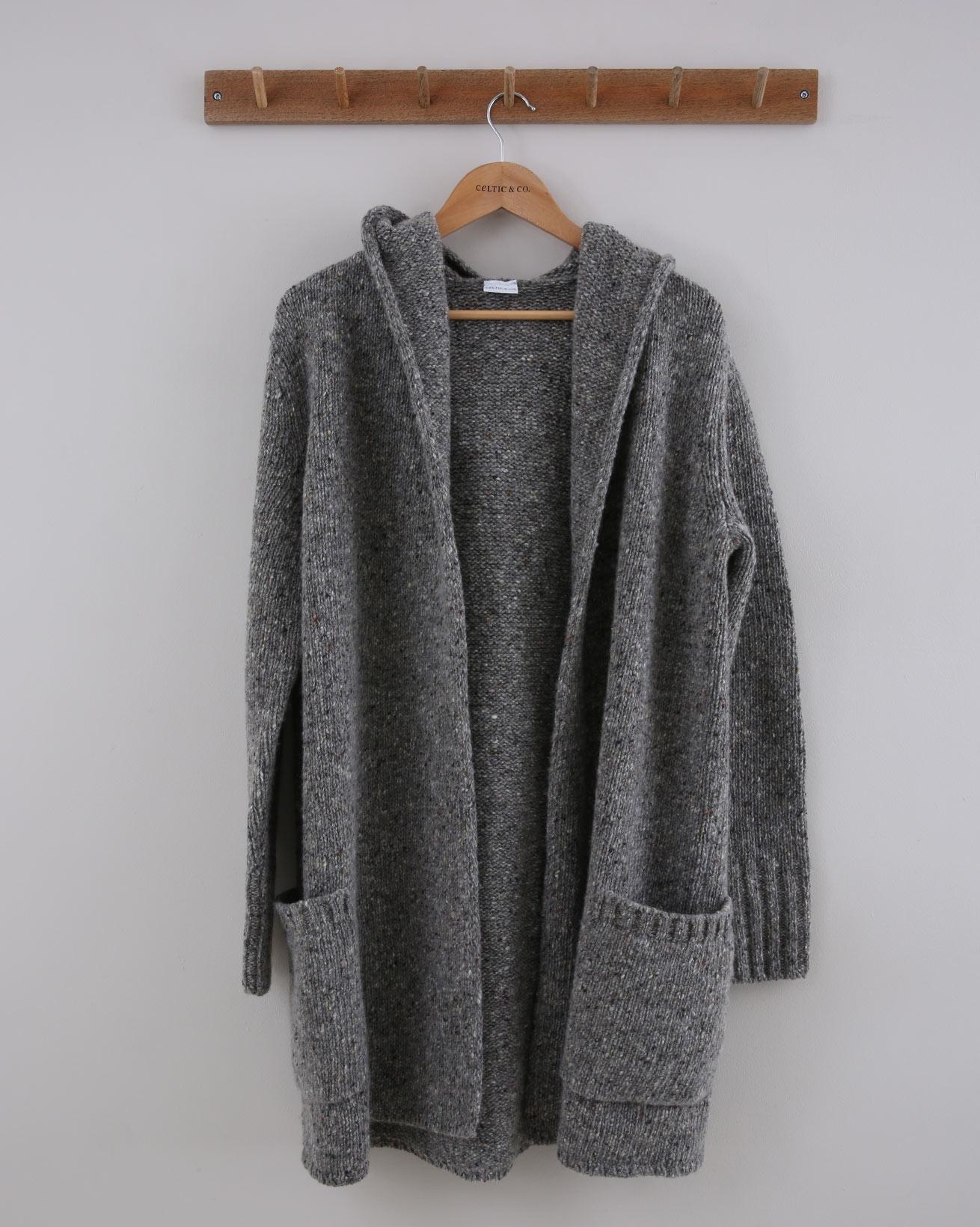 Donegal Hooded Coatigan - Size Medium - Grey Pebble - 1512
