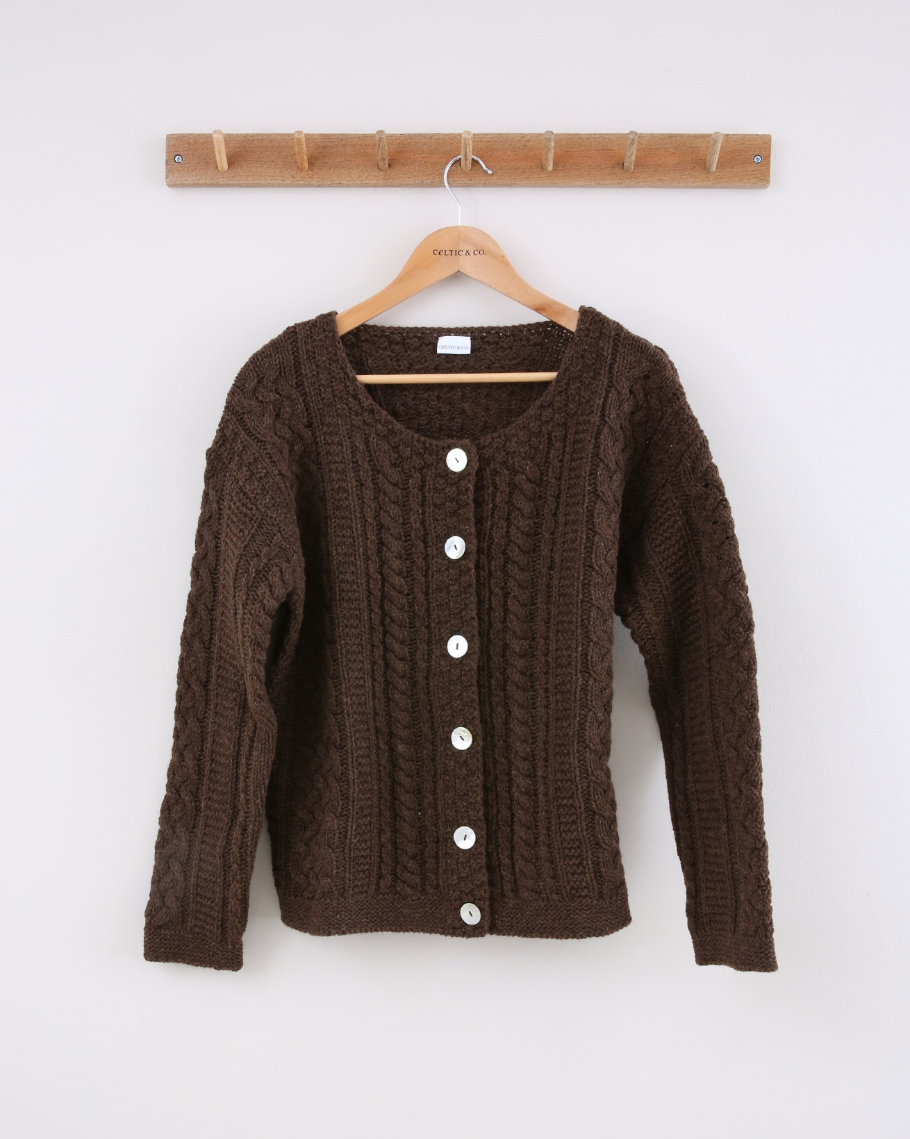Cable Cardi - Size Small - Brown - 1516