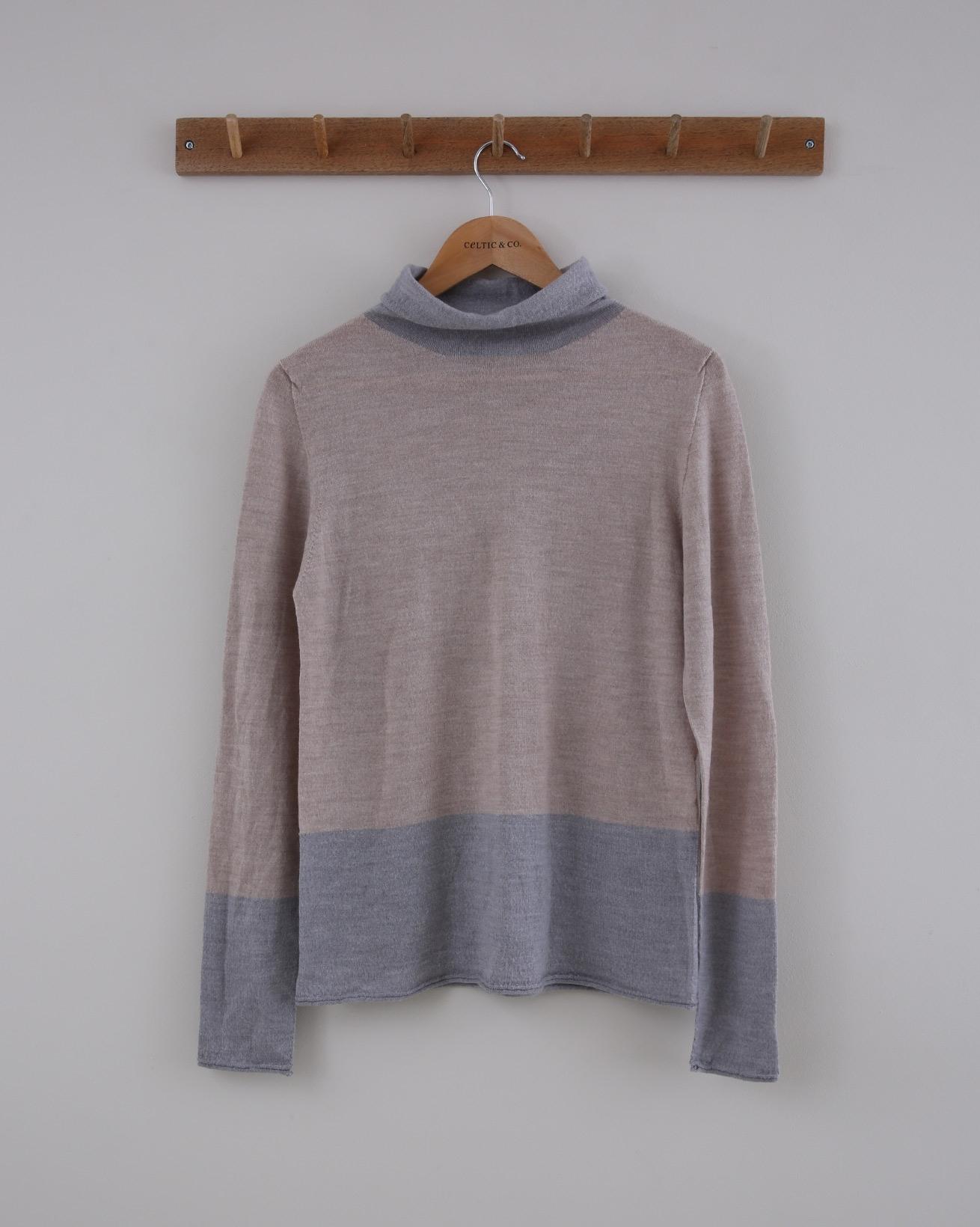 Merino Roll Neck - Size Small - Grey / Blush - 1517