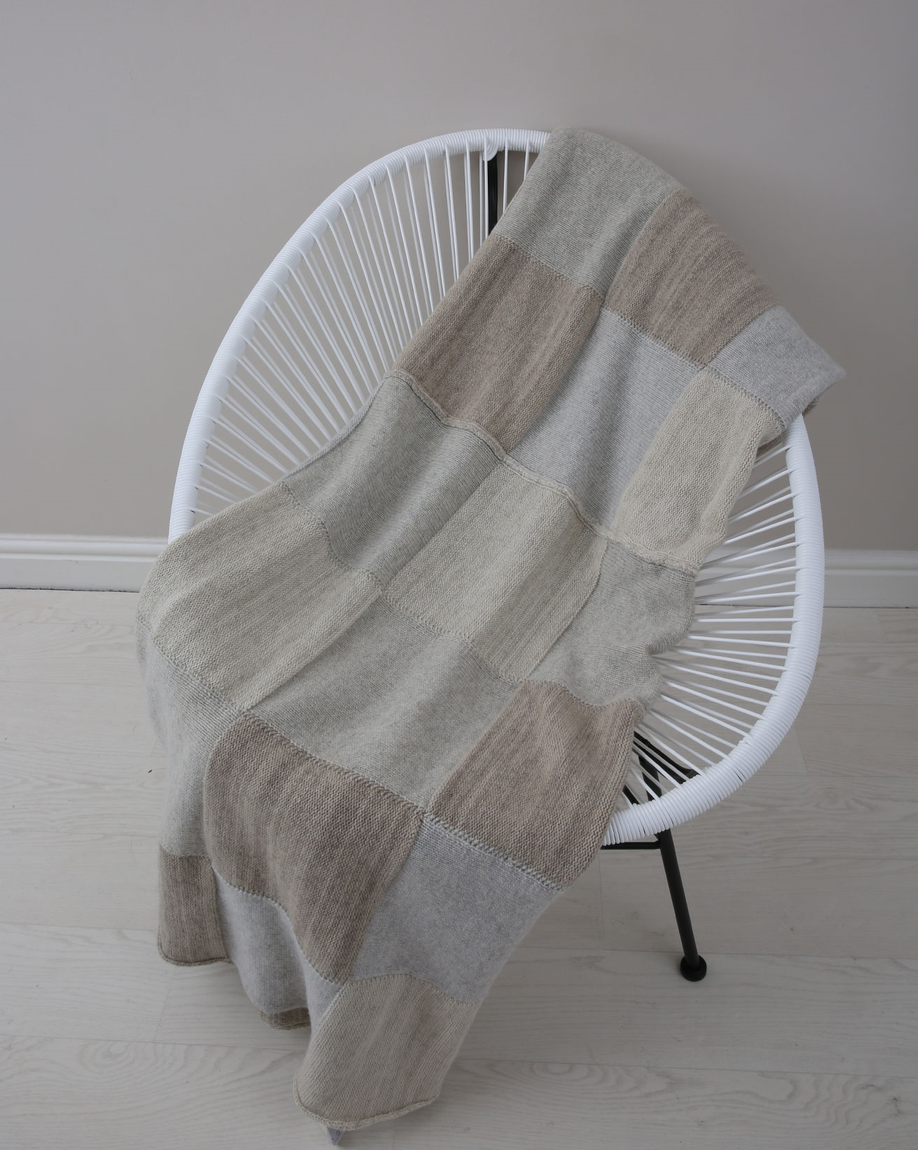 Patchwork Knitted Throw - 100cm x 230cm - Oatmeal multi - 1526