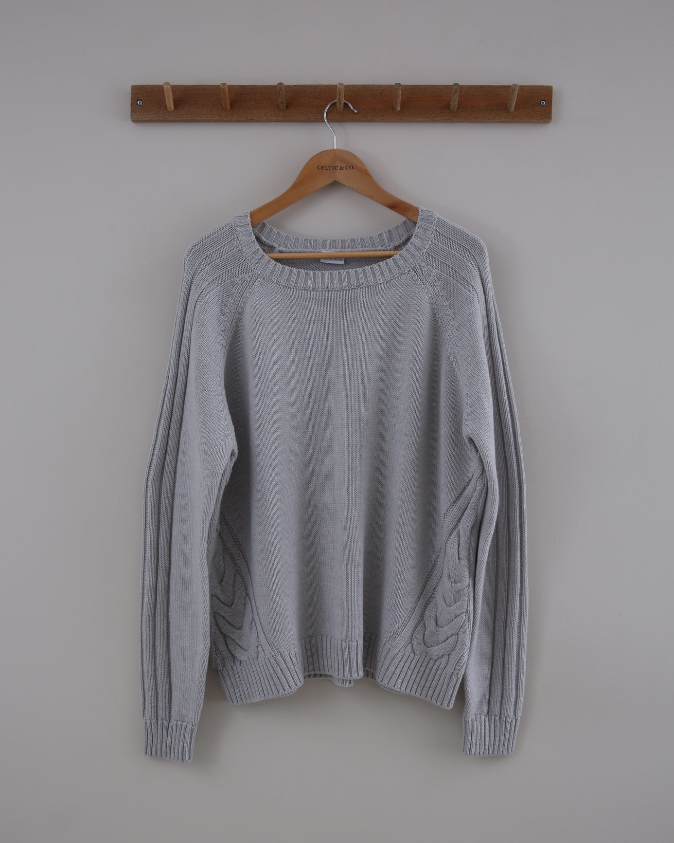 Patchwork Cable Jumper - Size Small - Dove - 1527