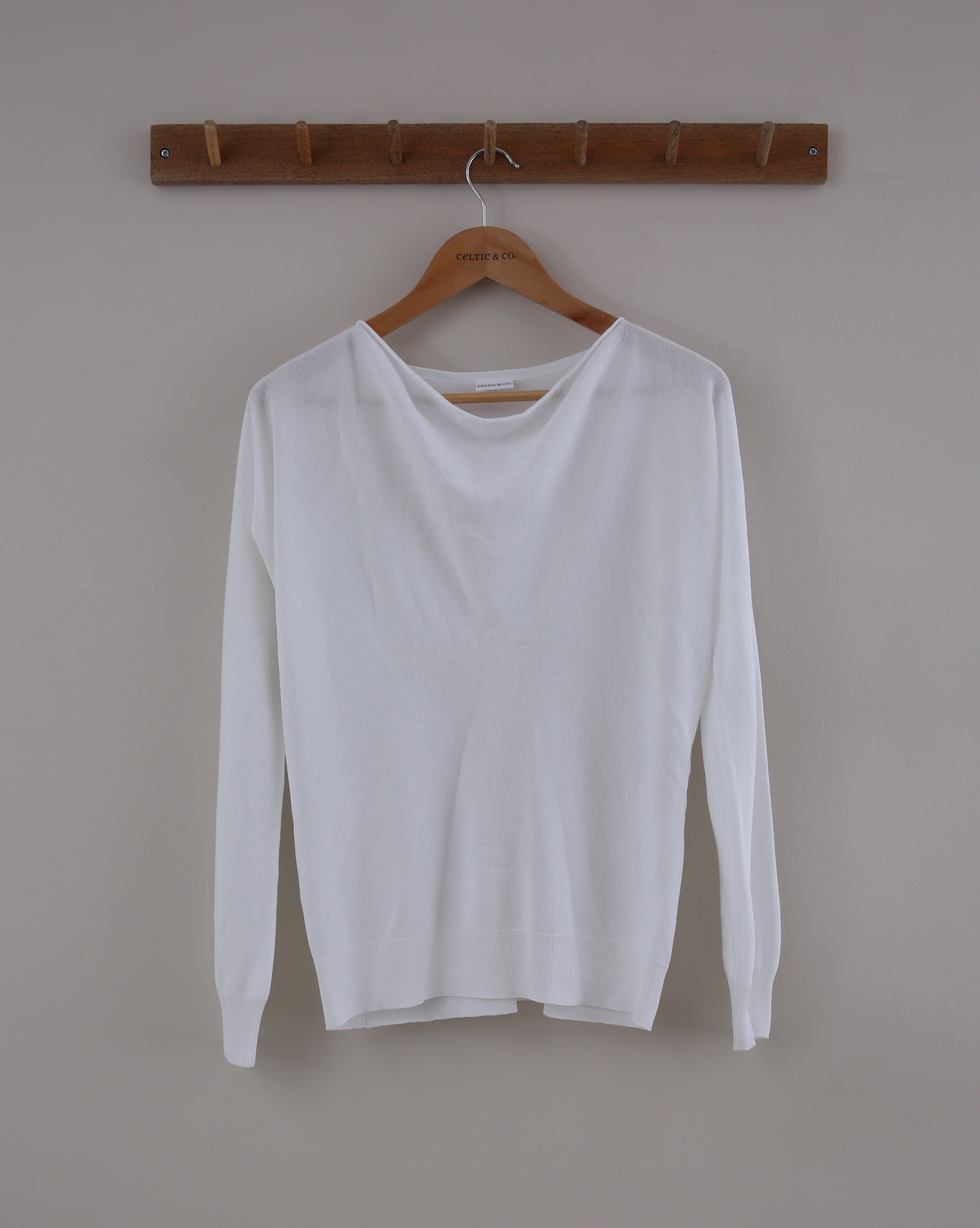 Soft Cowl Jumper - Size Small - White - 1535