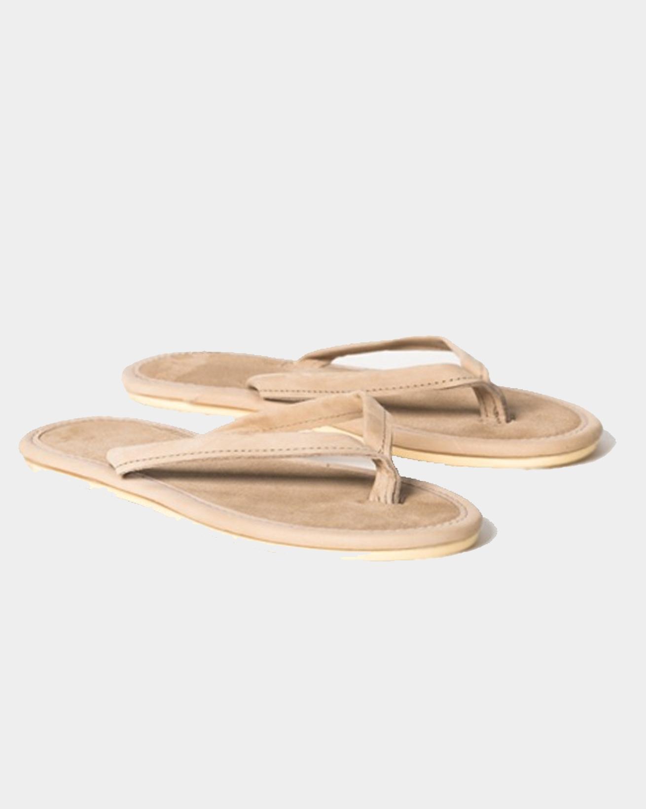 Nubuck & Suede Flip-flops - Size 8 - Taupe - 1539
