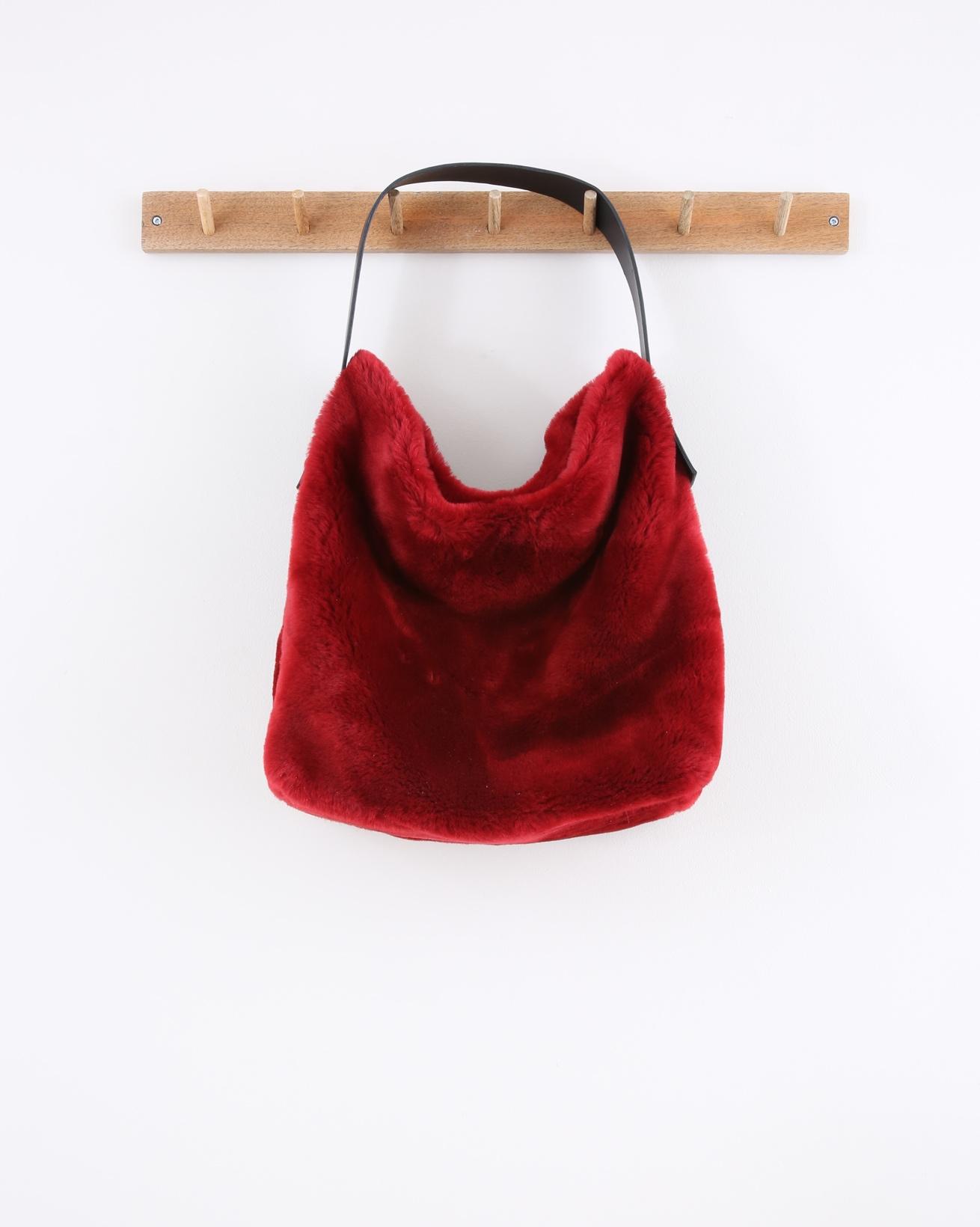 Sheepskin Hobo Bag -  40cm x 35cm - Red - 1549