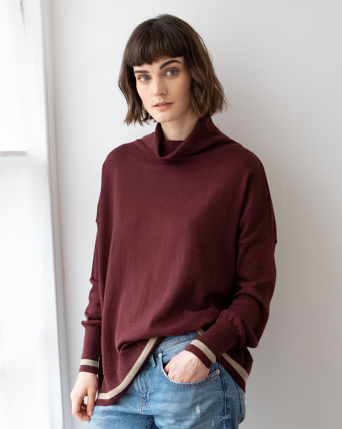 Slouchy Fine Knit Turtleneck