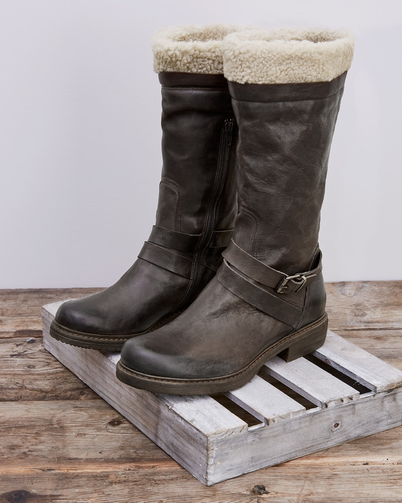 Shearling Trim Cuff Long Boot