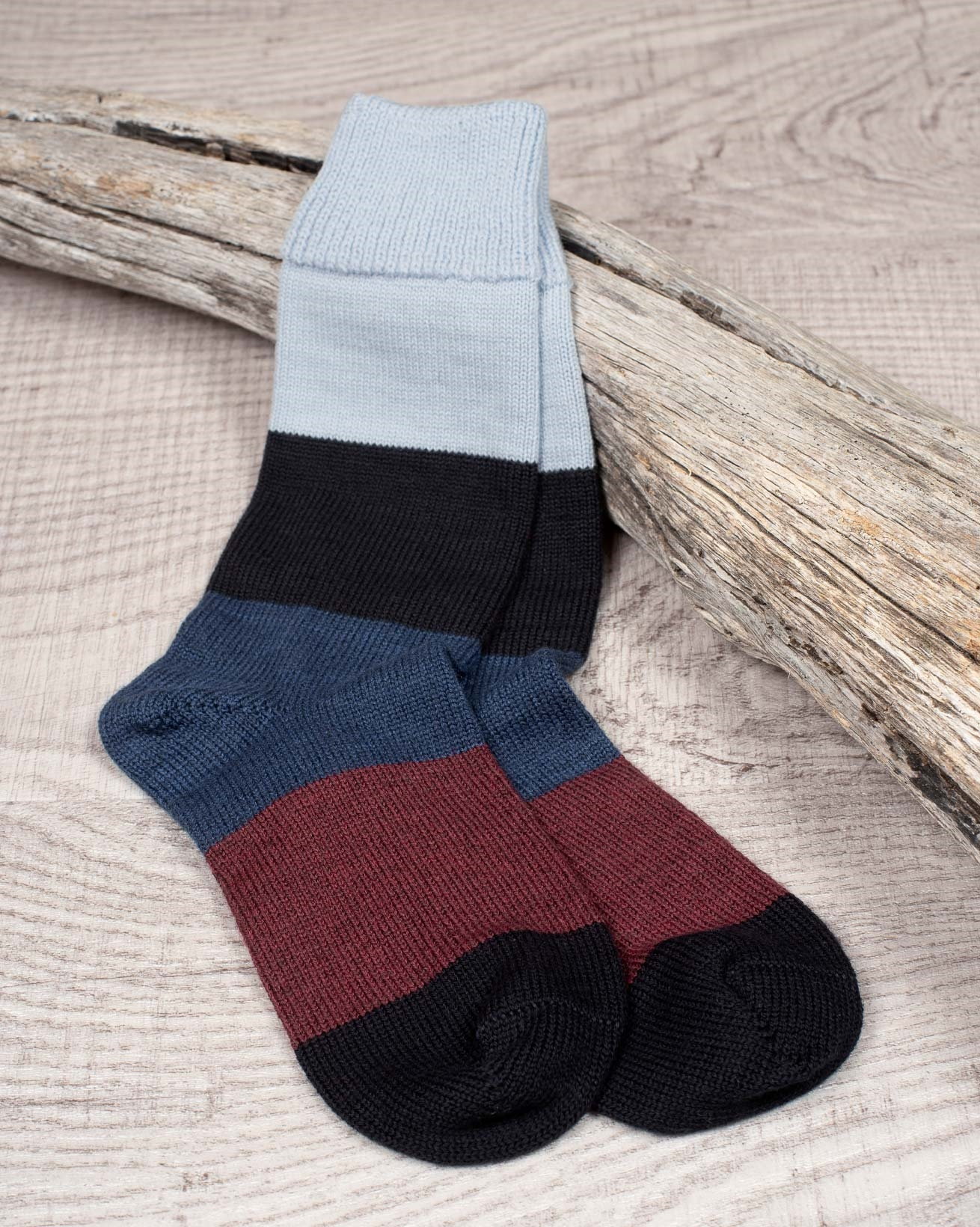Men's Merino Cotton Block Stripe Sock