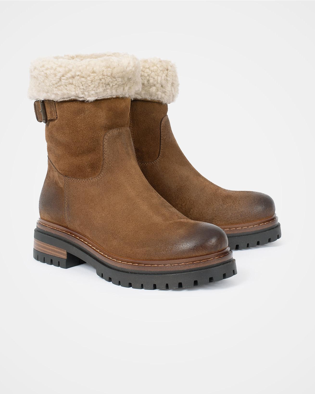 Sheepskin Cuff Ankle Boot - Autumn Brown - Size 37 - 2572
