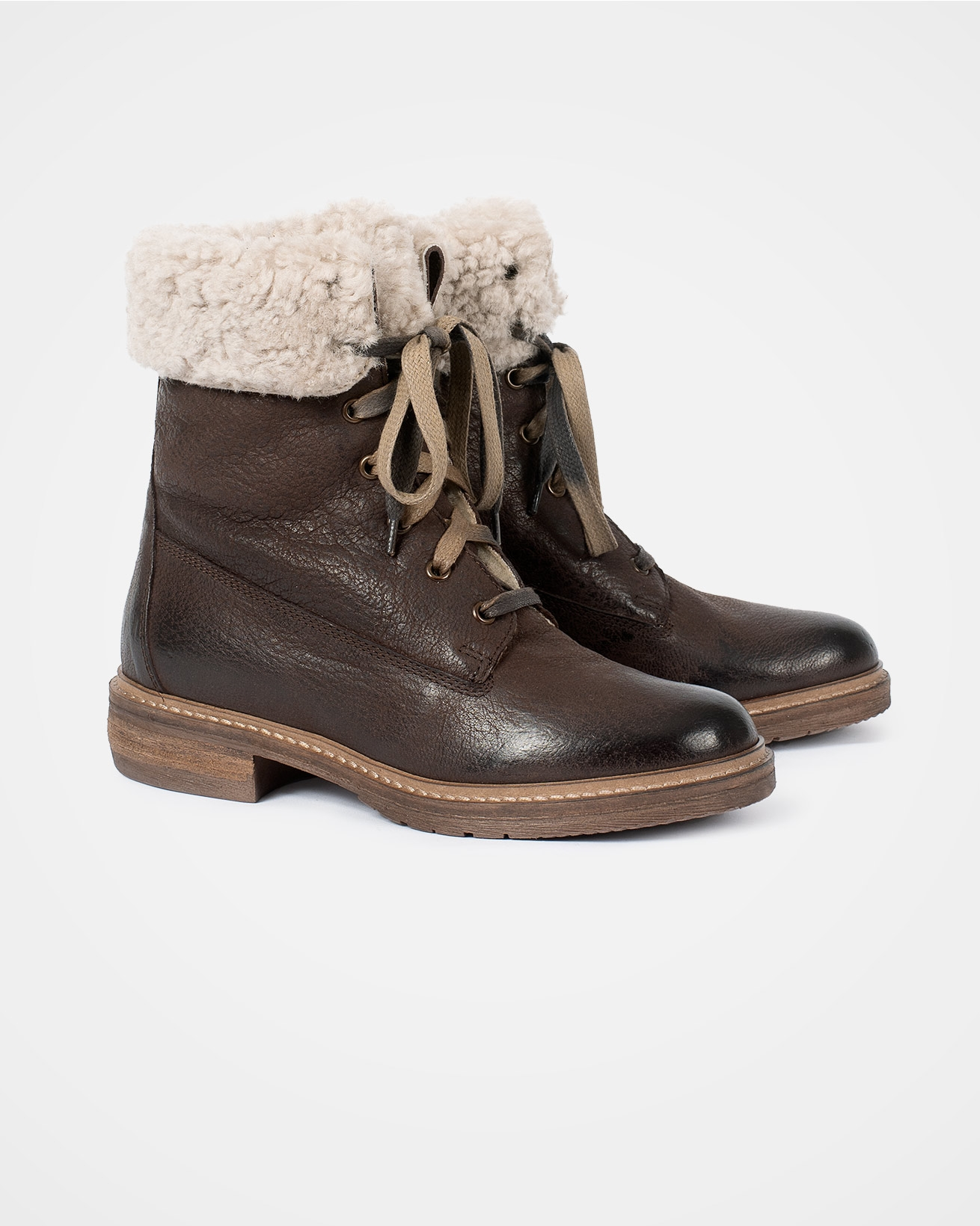 Fold Down Lace Up Boot - Size 40 - Tanners Brown - 2055