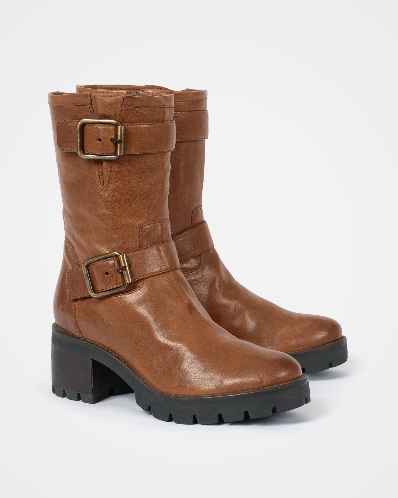 Block Heel Biker Boots - Size 39 - Antique Brown - 2058