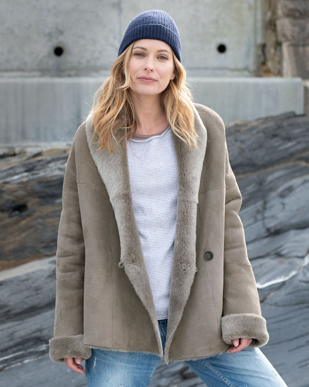 Shawl-Collar Shearling Coat