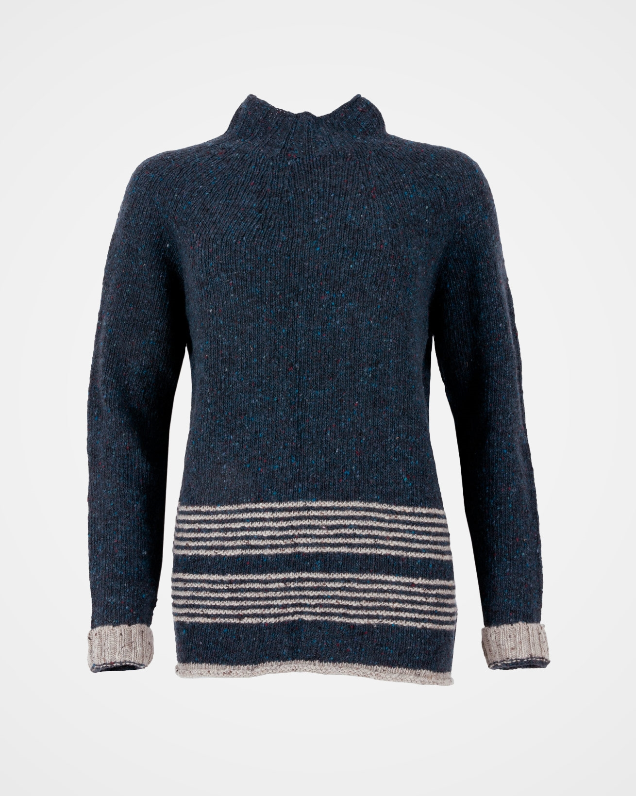 Flecked Funnel Neck - Size Small - Navy / Grey - 1600
