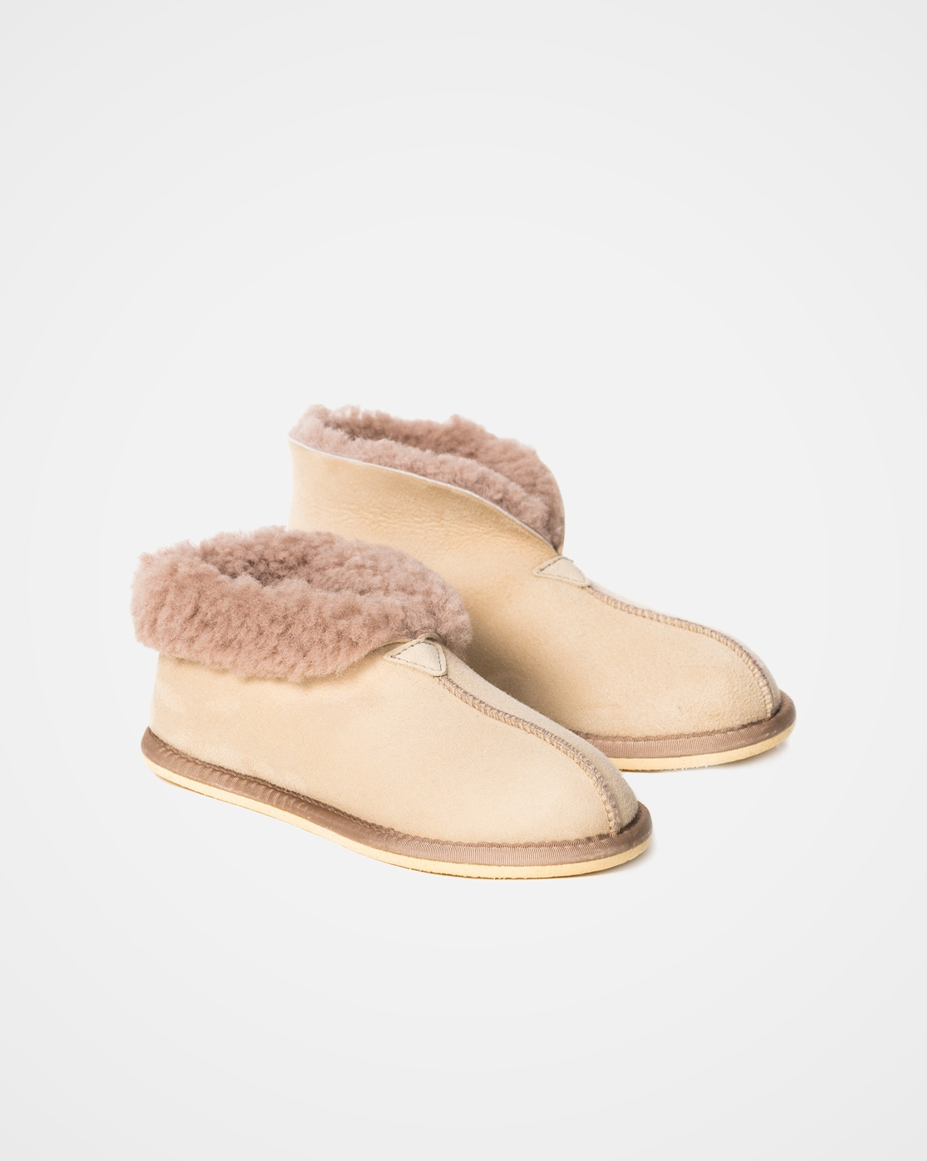 Ladies Sheepskin Bootee Slipper - Size 3 - Oatmeal - 2071