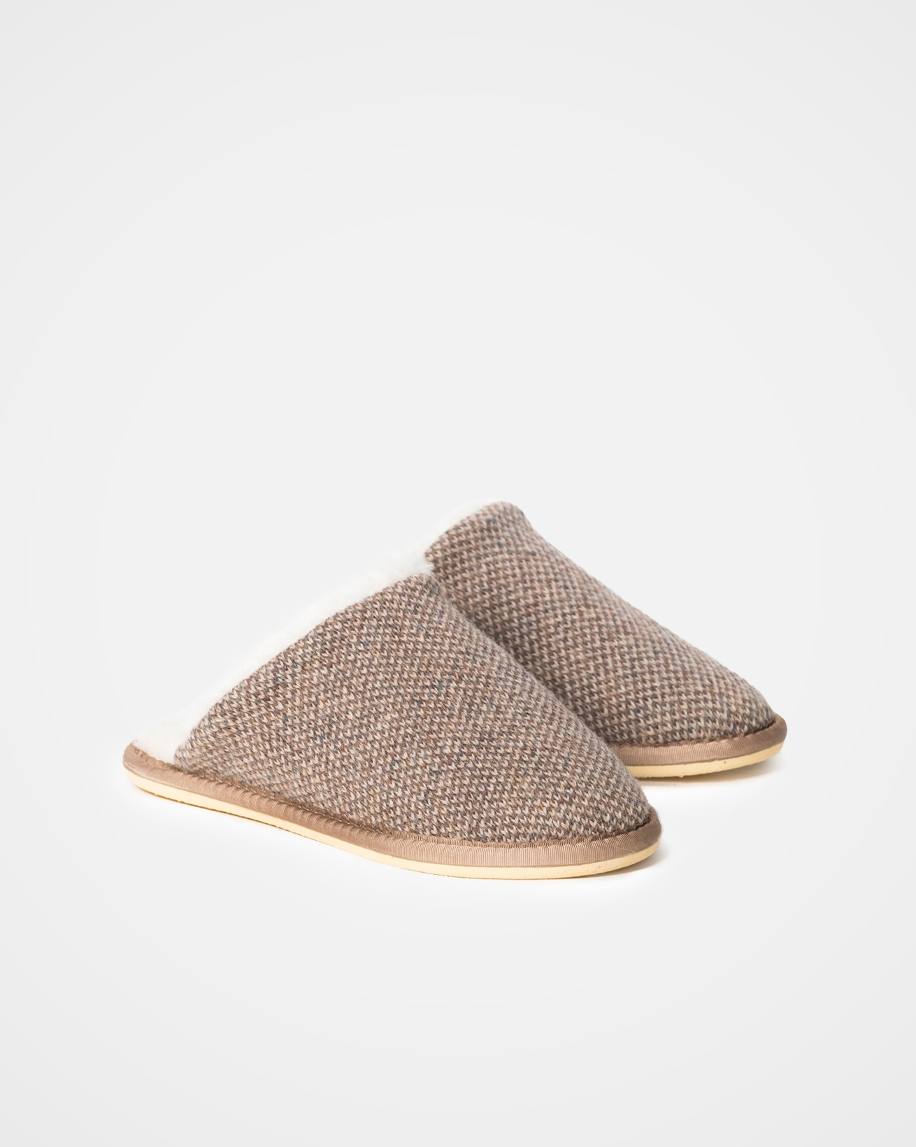 Mens Knitted Mules - Size 11 - Pebble - 989