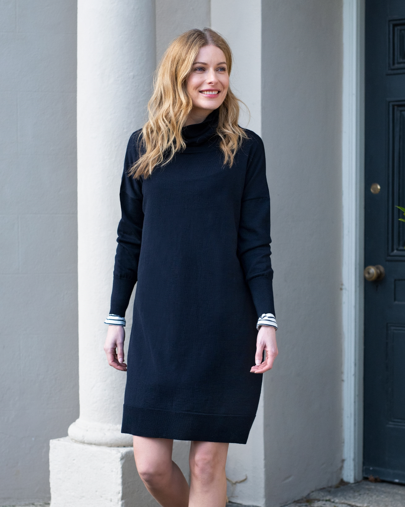 Slouchy Fine Knit Roll Neck Dress