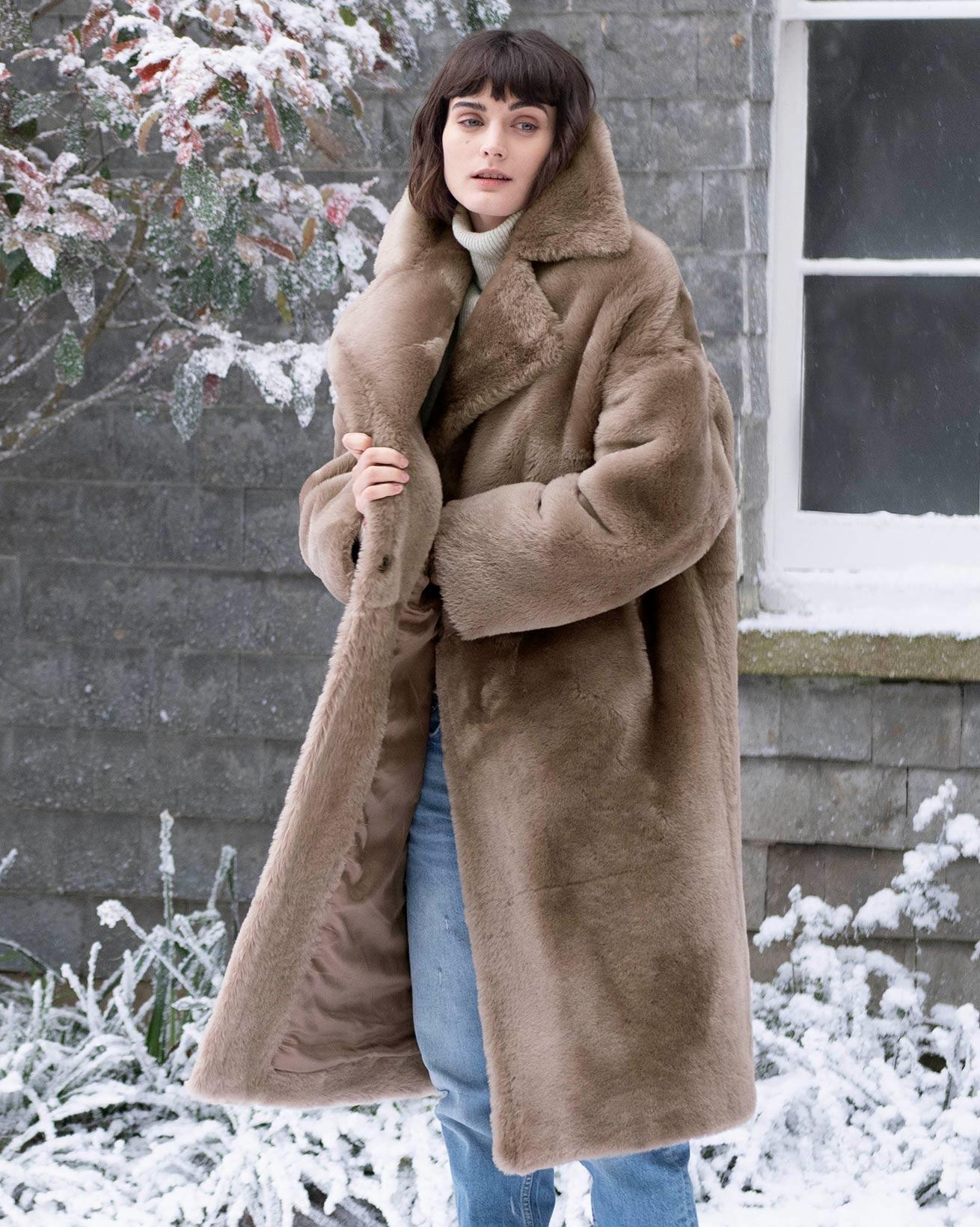 Long Sheepskin Overcoat