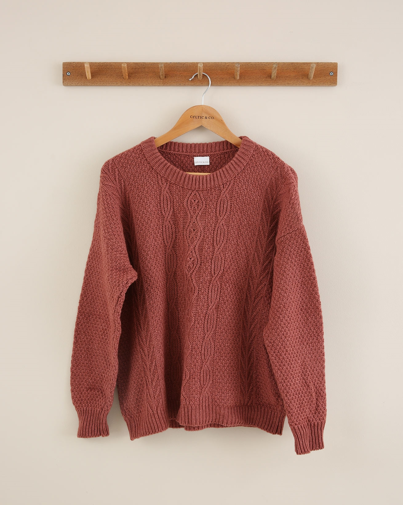Cable Crew Neck Jumper - Size Small - Antique Rose - 1650