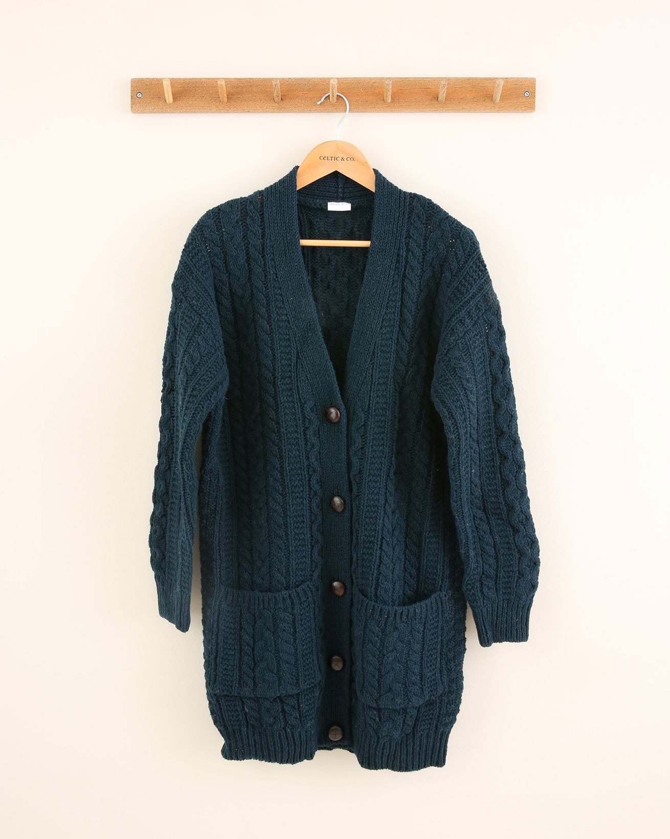 Cable Boyfriend Cardigan - Size Small - Icelandic Blue - 1651