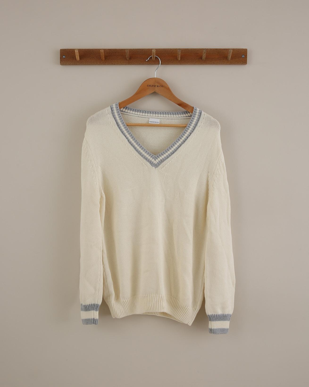 Tipped Cotton V Neck Jumper - Size Small - Ecru - 1652
