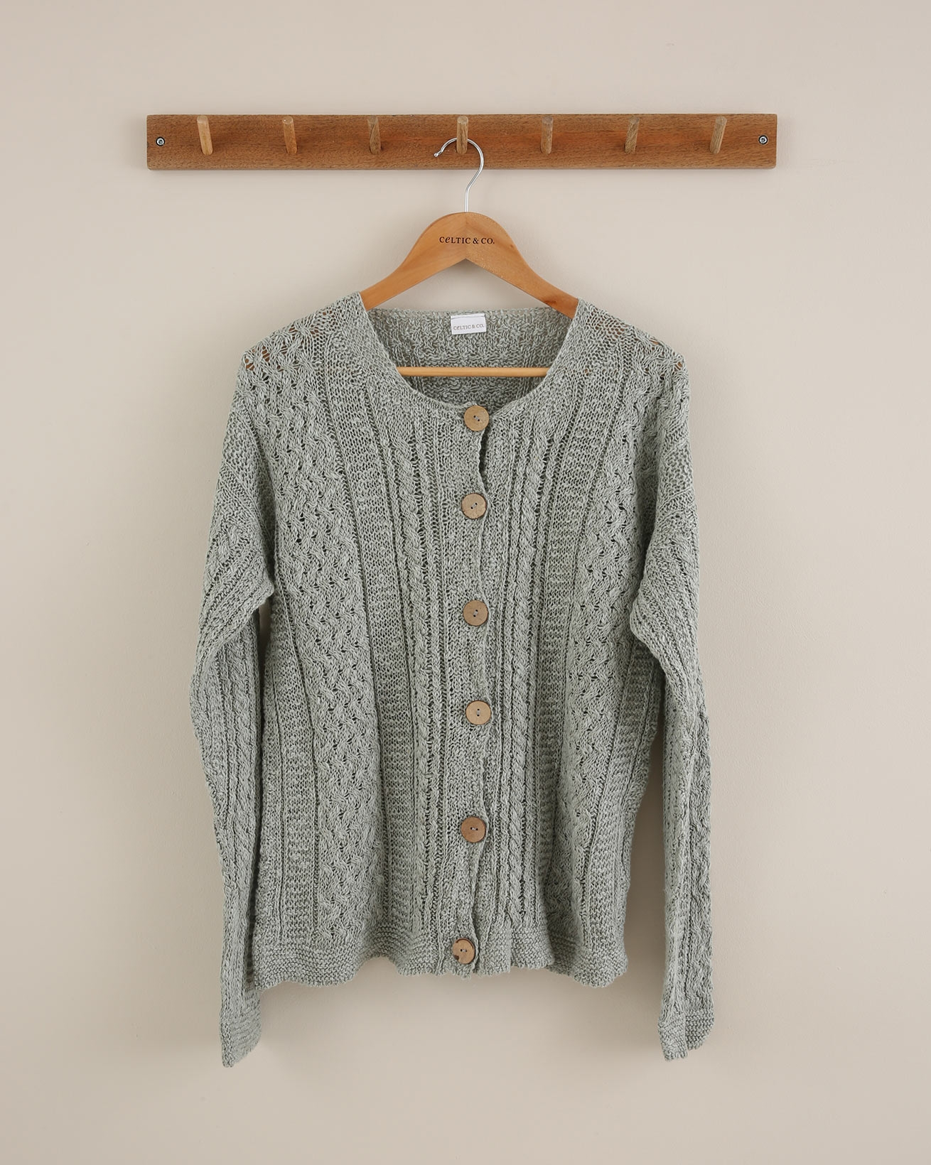 Linen Cotton Cable Cardigan - Small - Sage - 1653