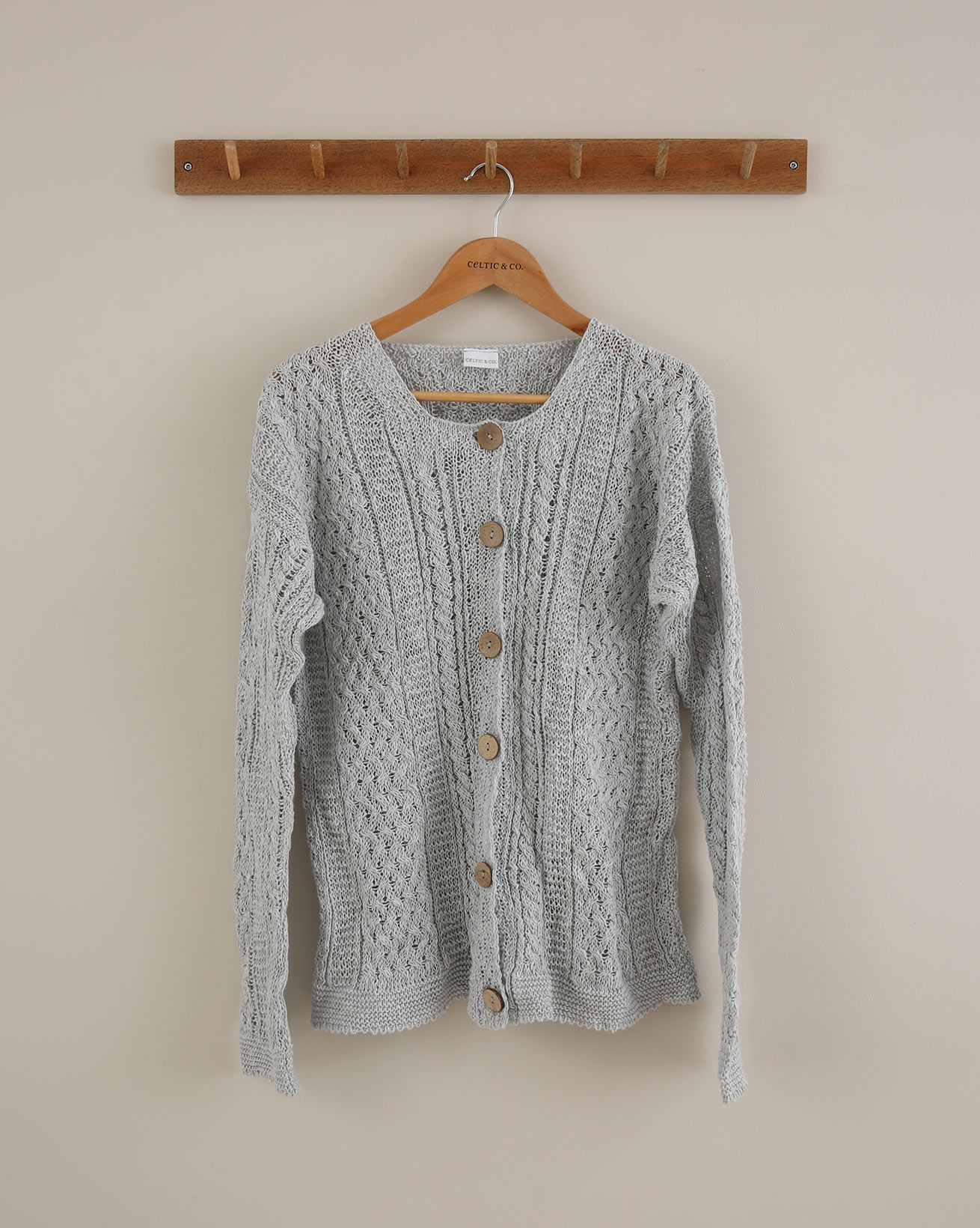 Linen Cotton Cable Cardigan - Small - Skylight - 1654