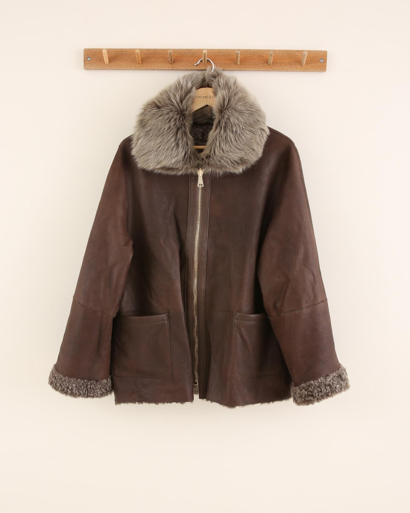 Reversible Sheepskin Swing Jacket - Size 10 - Khaki Brown - 1672
