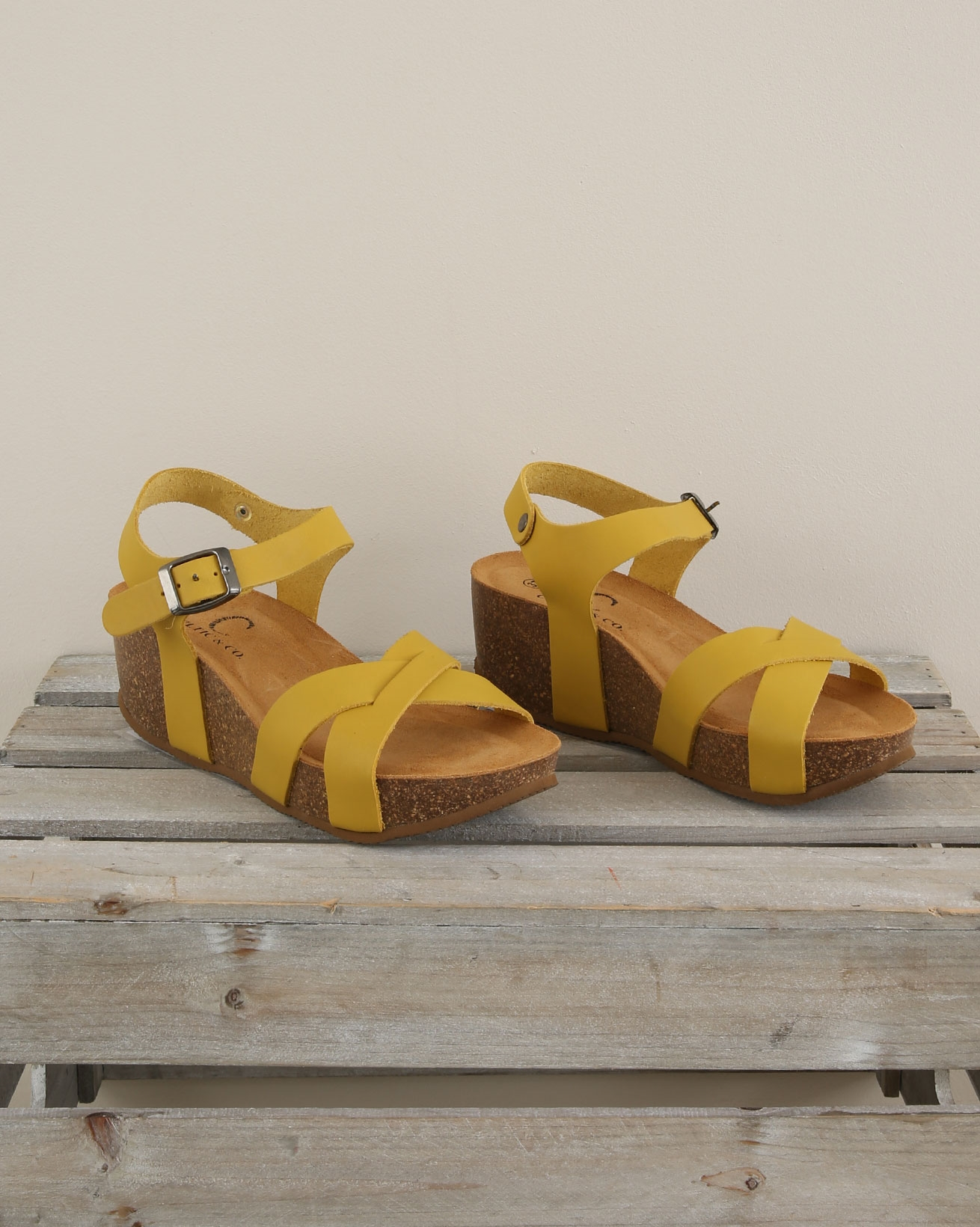 Crossover wedge sandal - Size 37 - Gorse - 1676