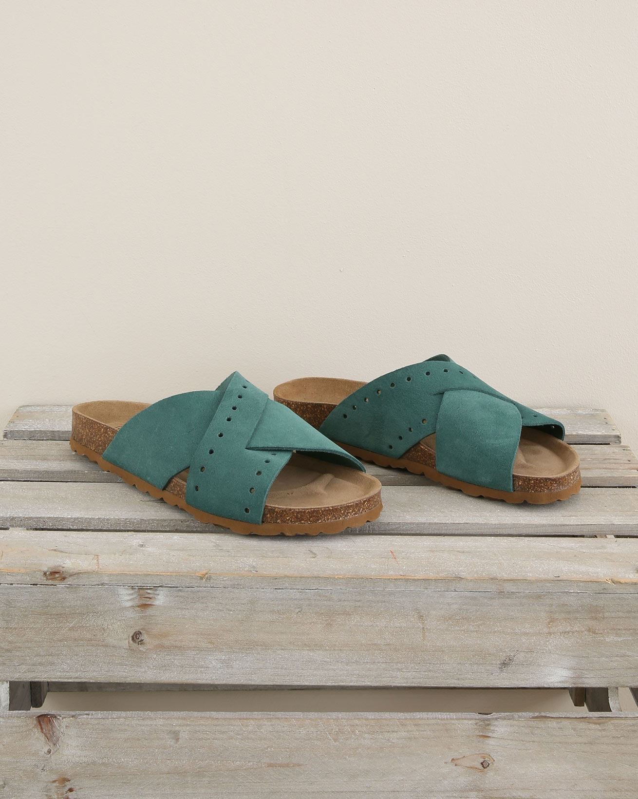 Cross Over Mule Slider - Size 37 - Sea Green - 1678