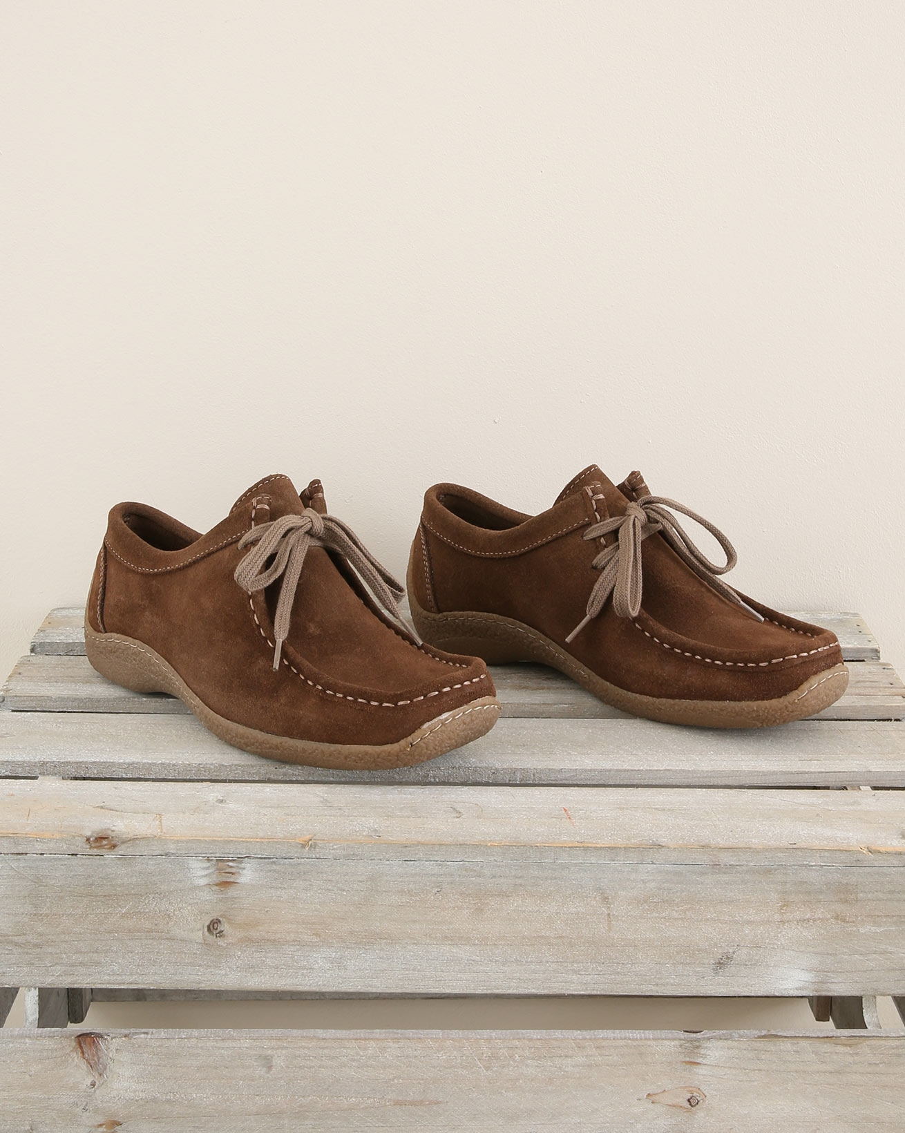 Suede Moccasion lace up shoe - Size 37 - Coffee - 1682