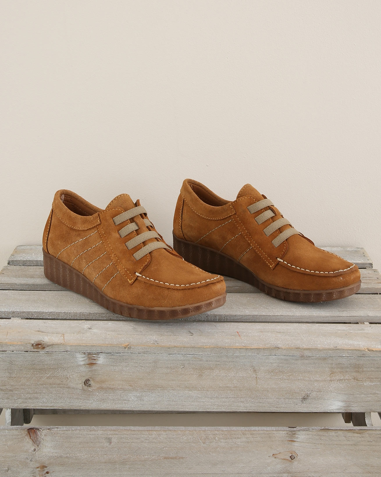 Suede Moccasion Wedge Shoe - Size 37 - Mustard - 1683