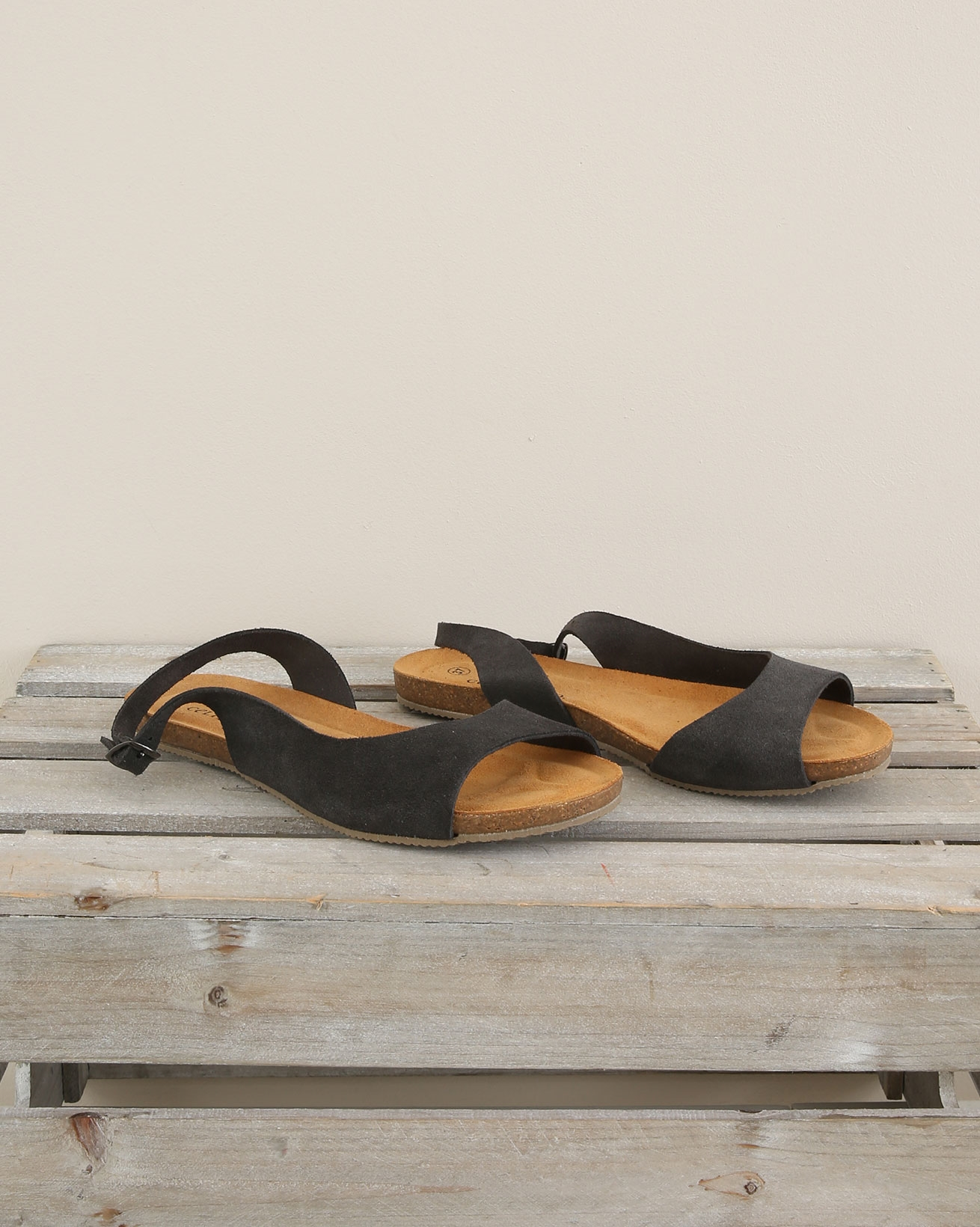 Sling Back Flat Sandal - Size 37 - Charcoal - 1689