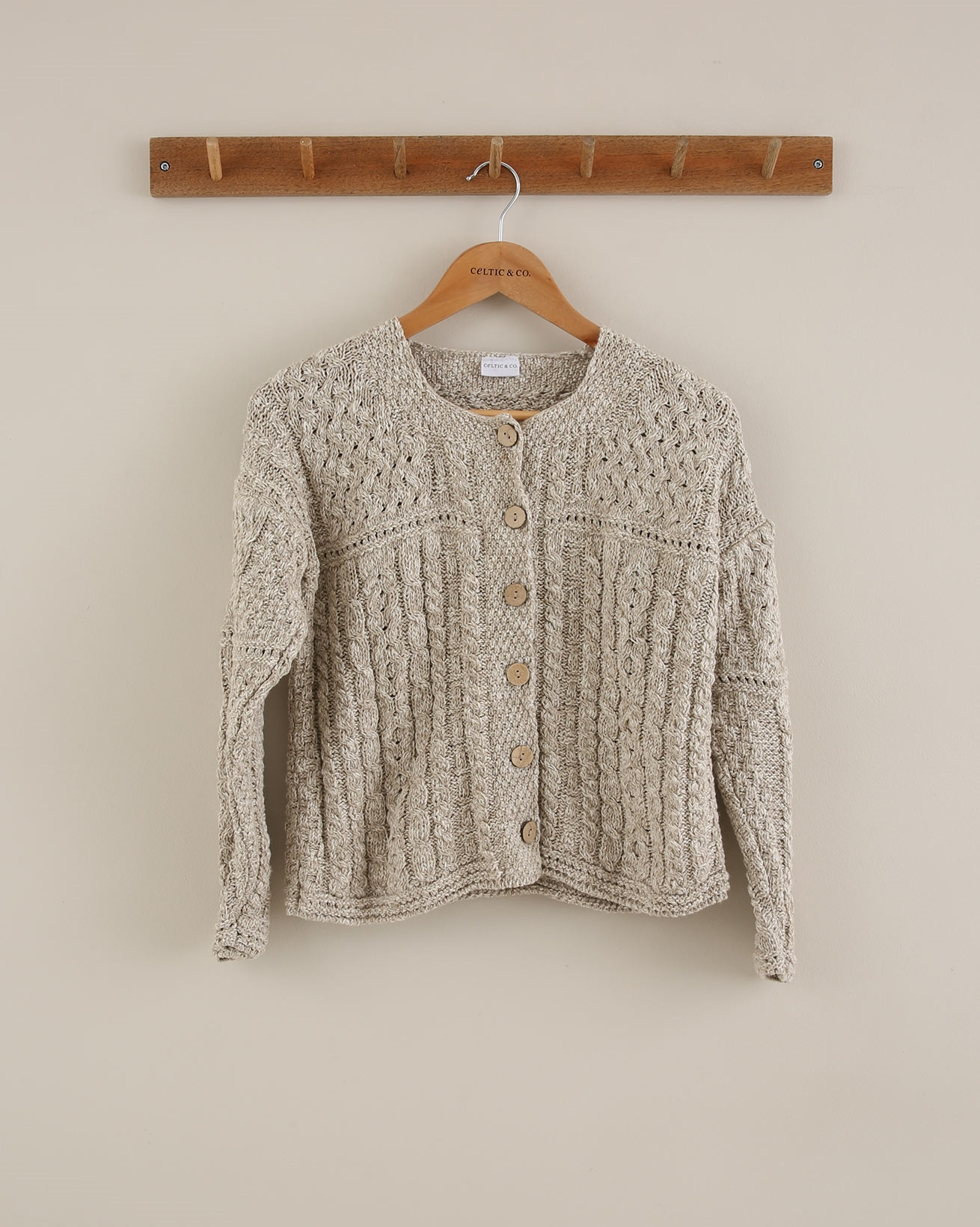 Knitted Linen Cardi - Size Small - Natural - 1690
