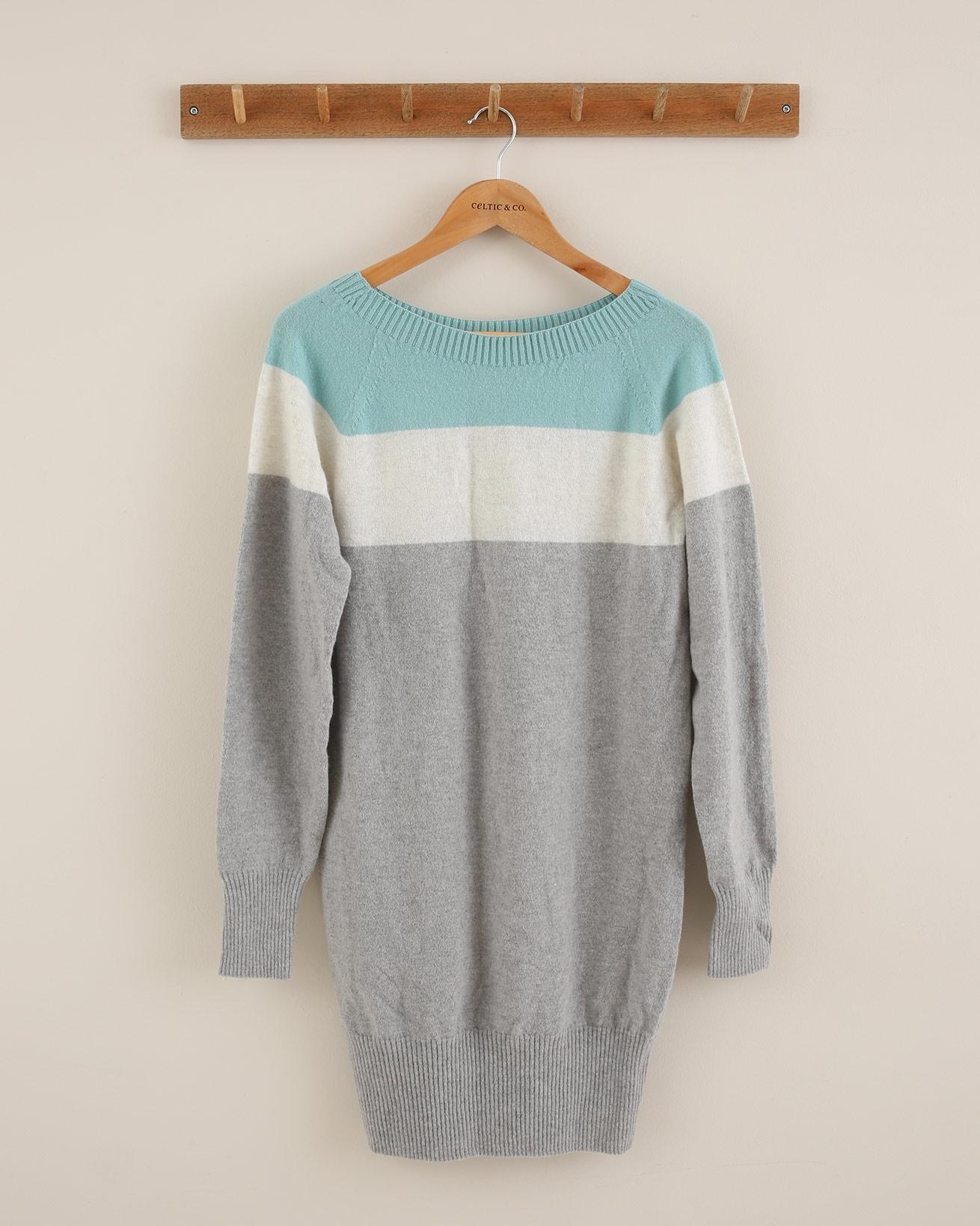 Supersoft Slouch Dress - Size Small - Aqua colourblock - 1695