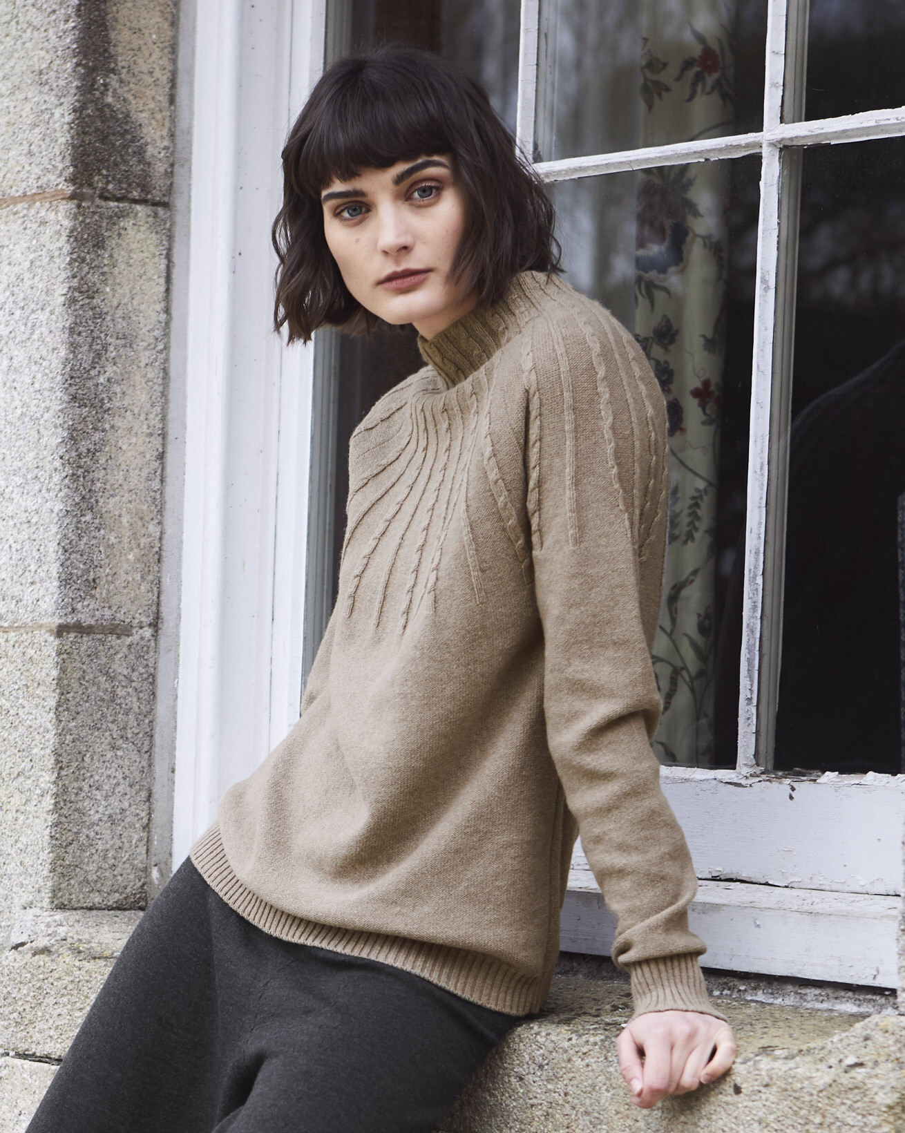 Cable Yoke Funnel Neck Sweater
