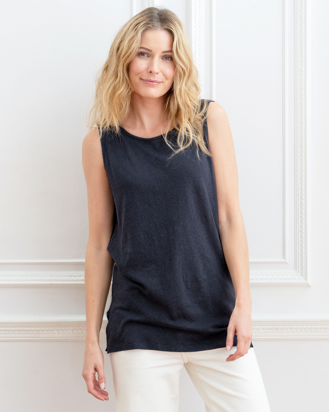 Linen Cotton Scoop Neck Tunic
