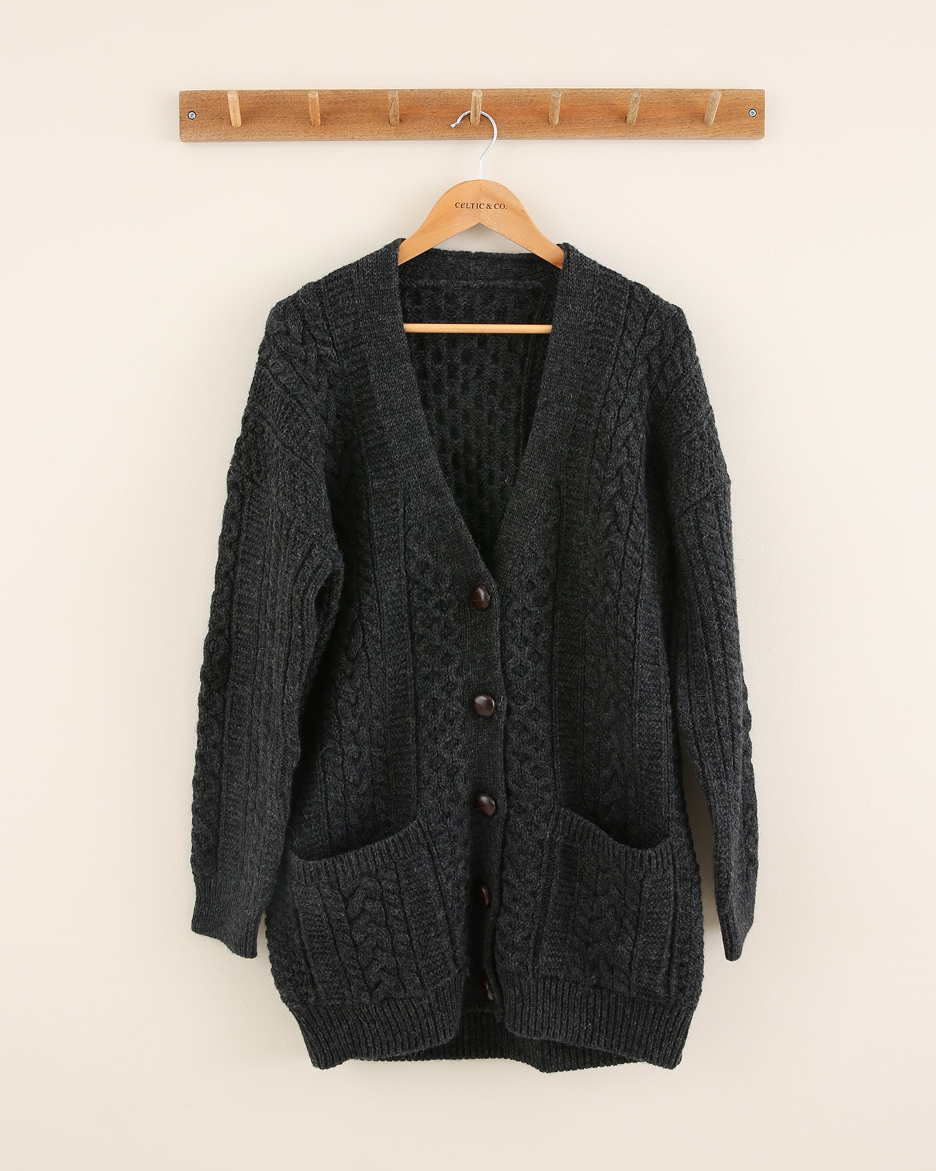 Boyfriend Cardi - Size Small - Charcoal Cable - 1697